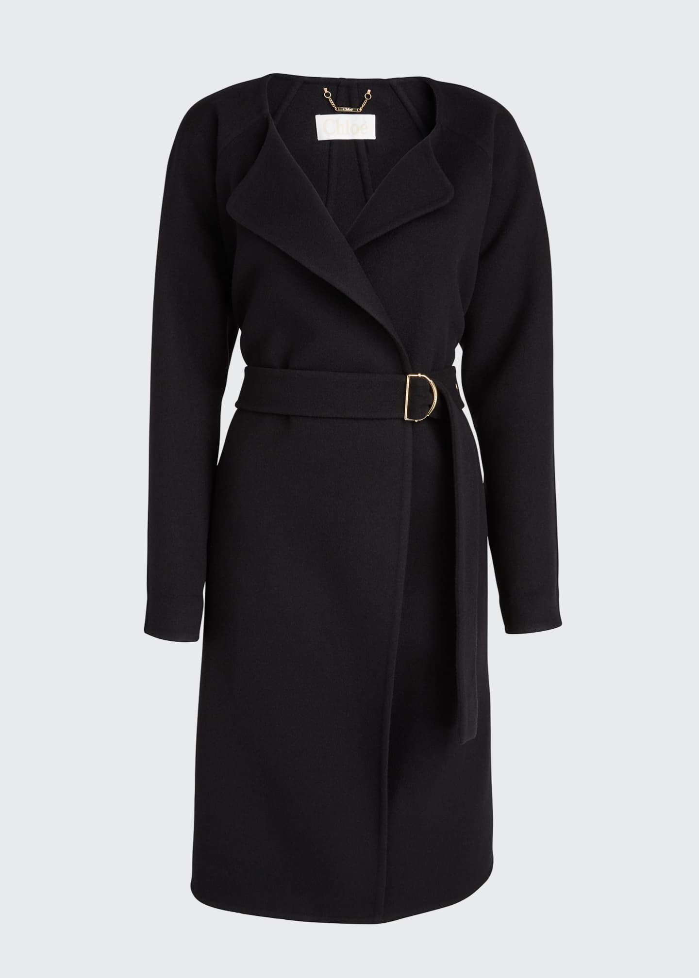 Image 5 of 5: Wool Cashmere Belted Wrap Coat
