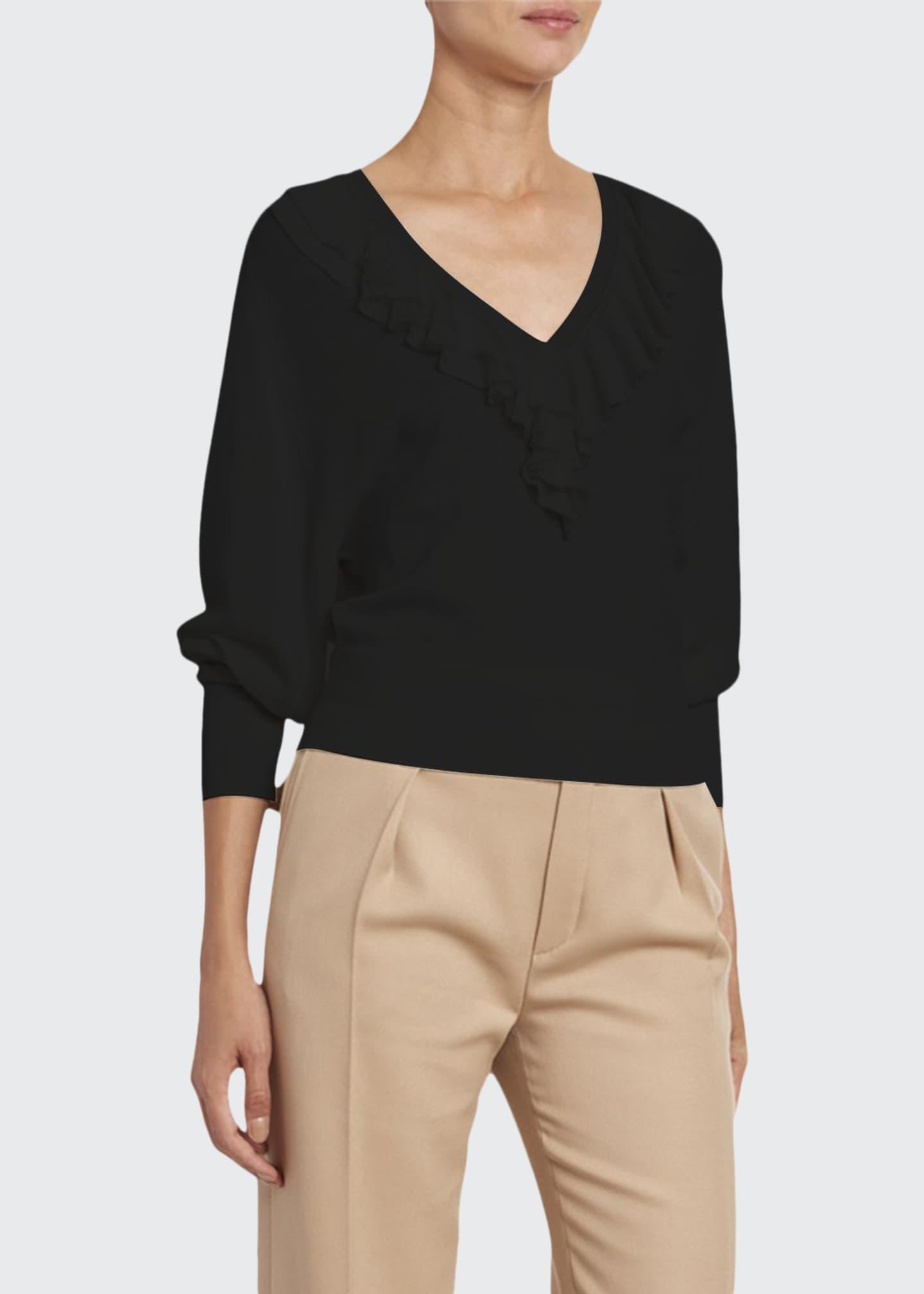 Chloe Wool Ruffled V-Neck Sweater