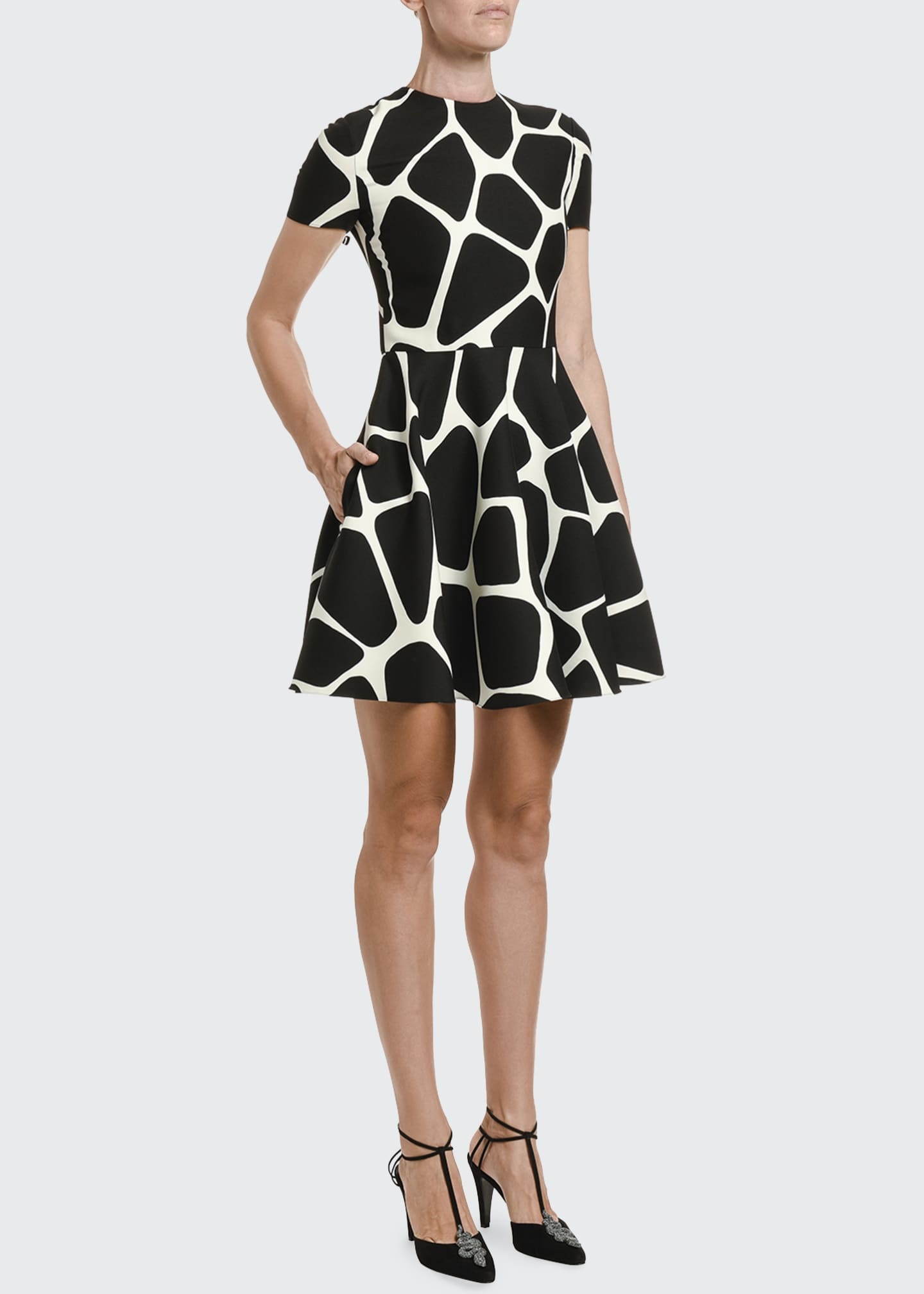 Image 3 of 3: Giraffe Crepe Couture A-Line Dress