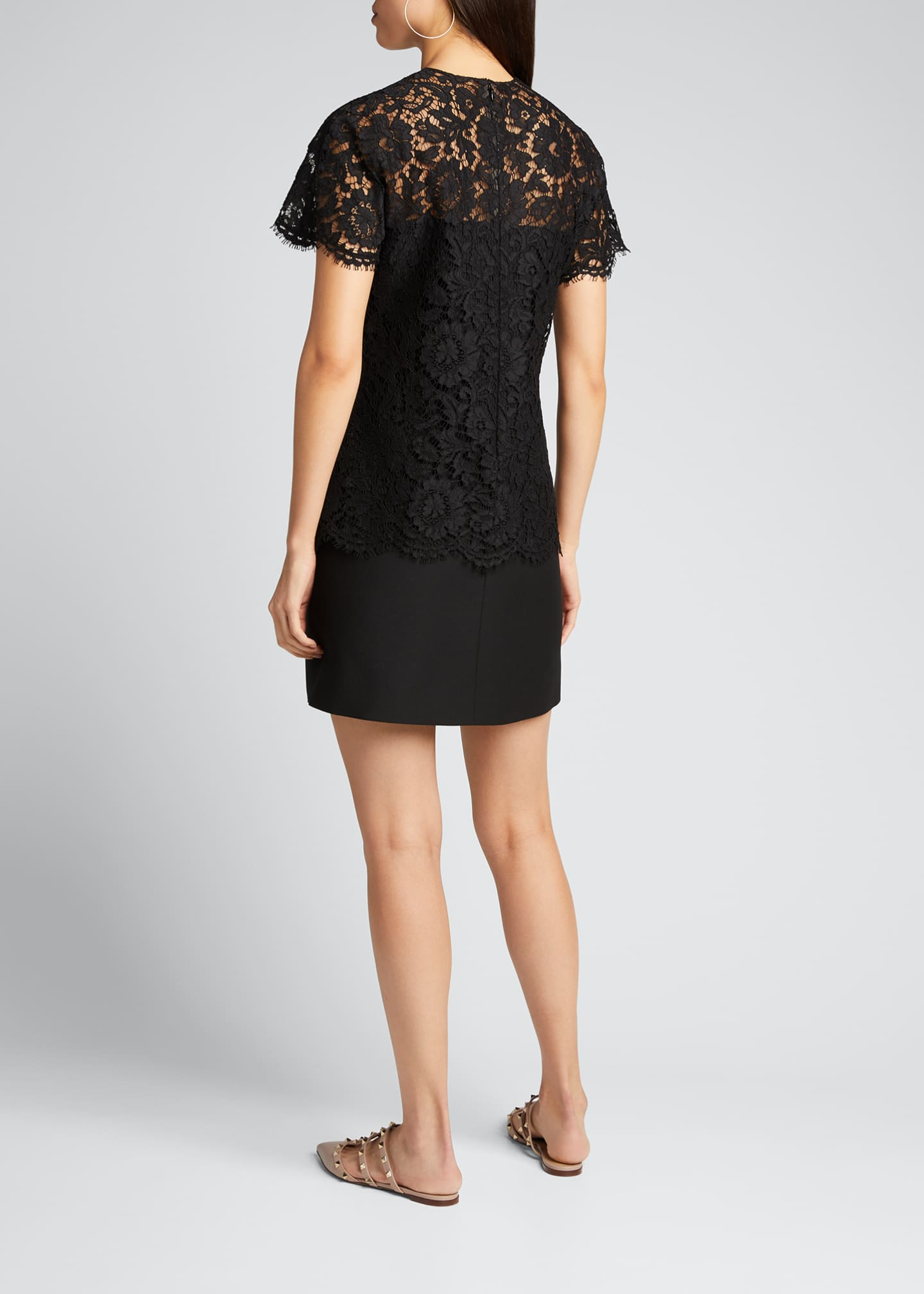 Image 2 of 5: Heavy Lace Short-Sleeve Dress