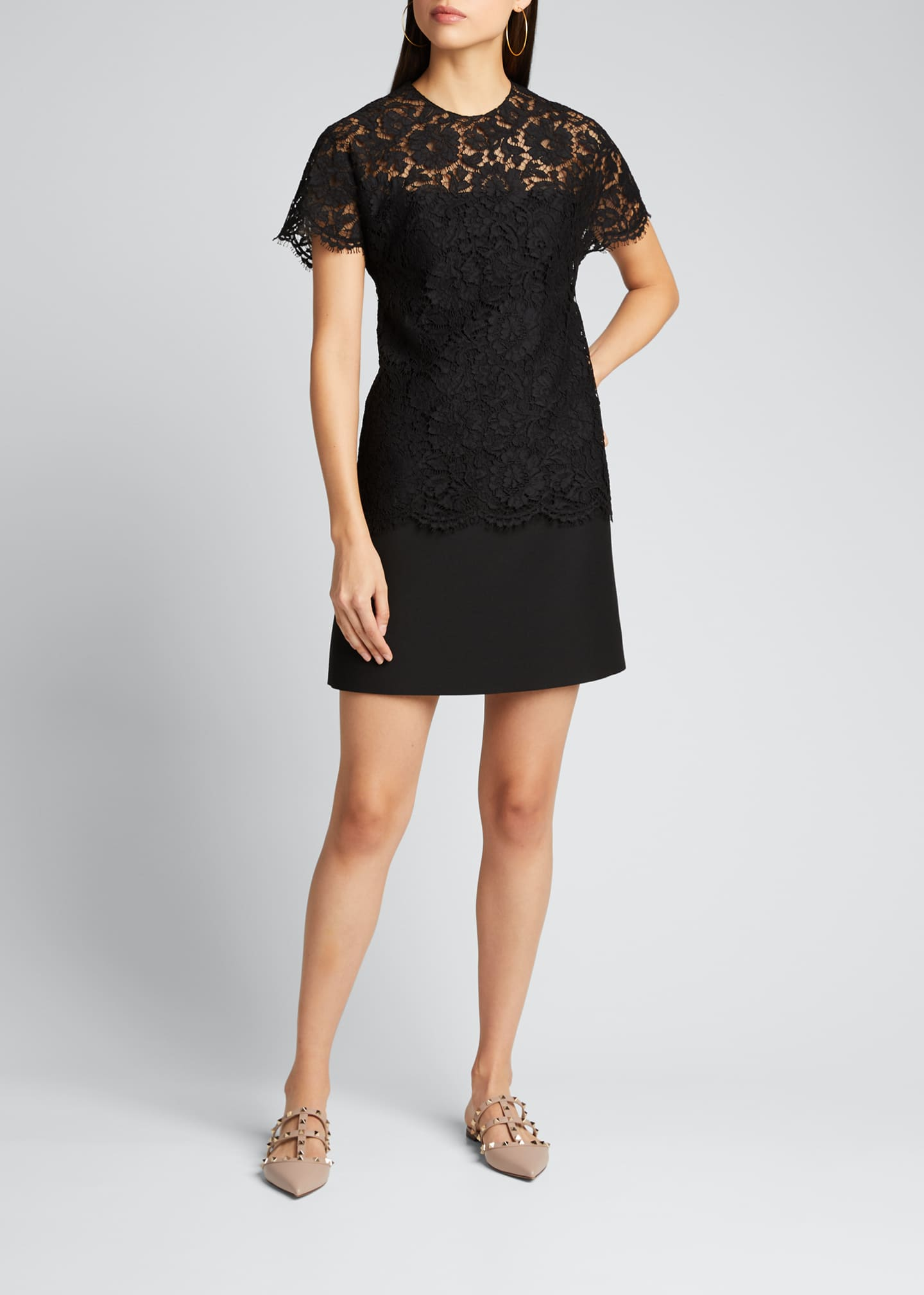 Image 3 of 5: Heavy Lace Short-Sleeve Dress