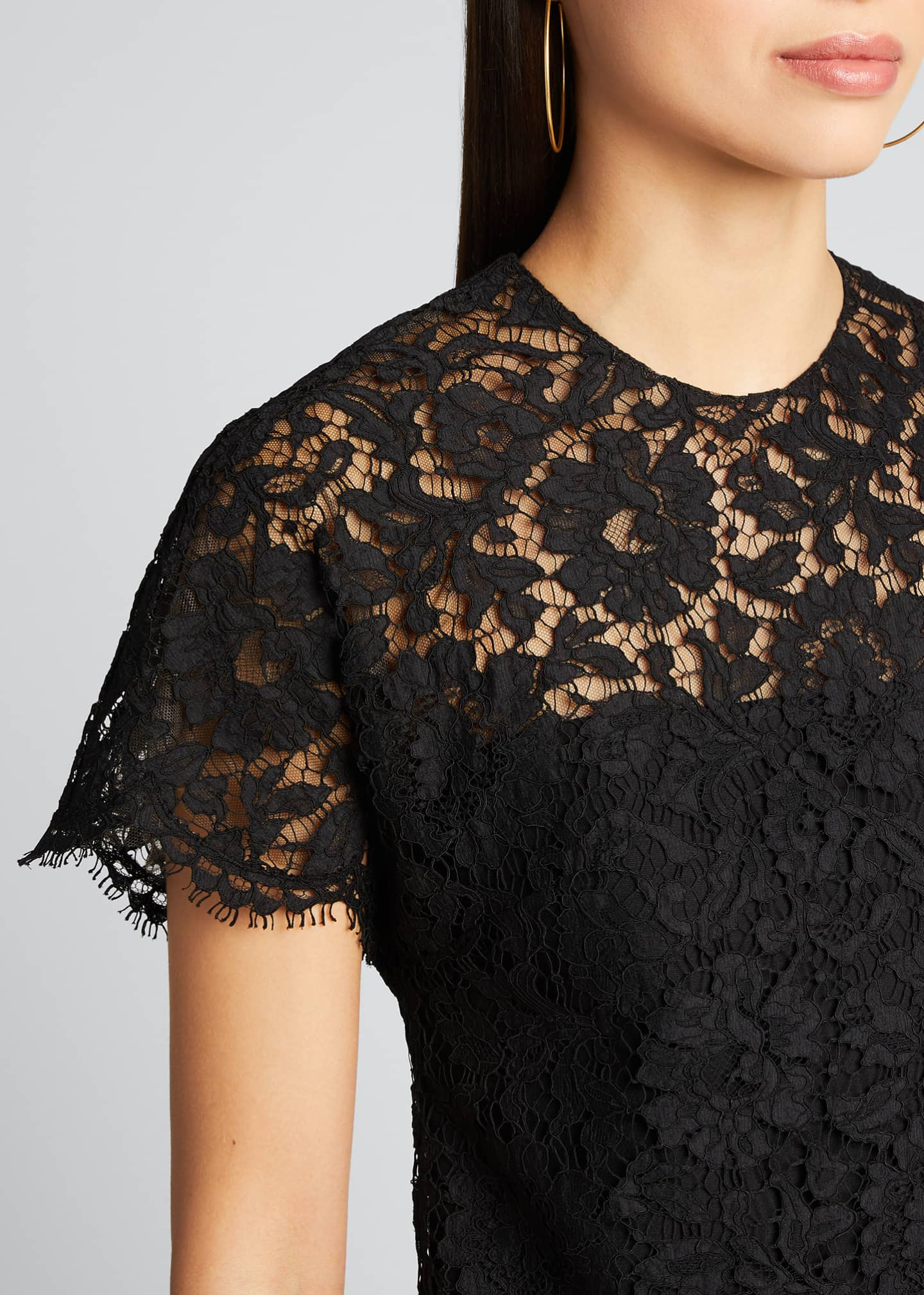 Image 4 of 5: Heavy Lace Short-Sleeve Dress