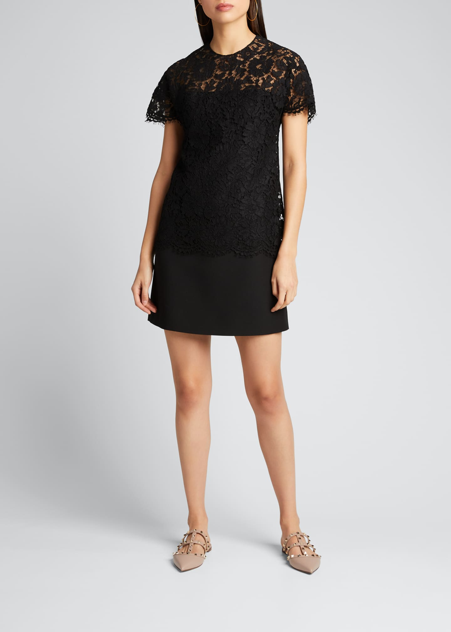 Image 1 of 5: Heavy Lace Short-Sleeve Dress