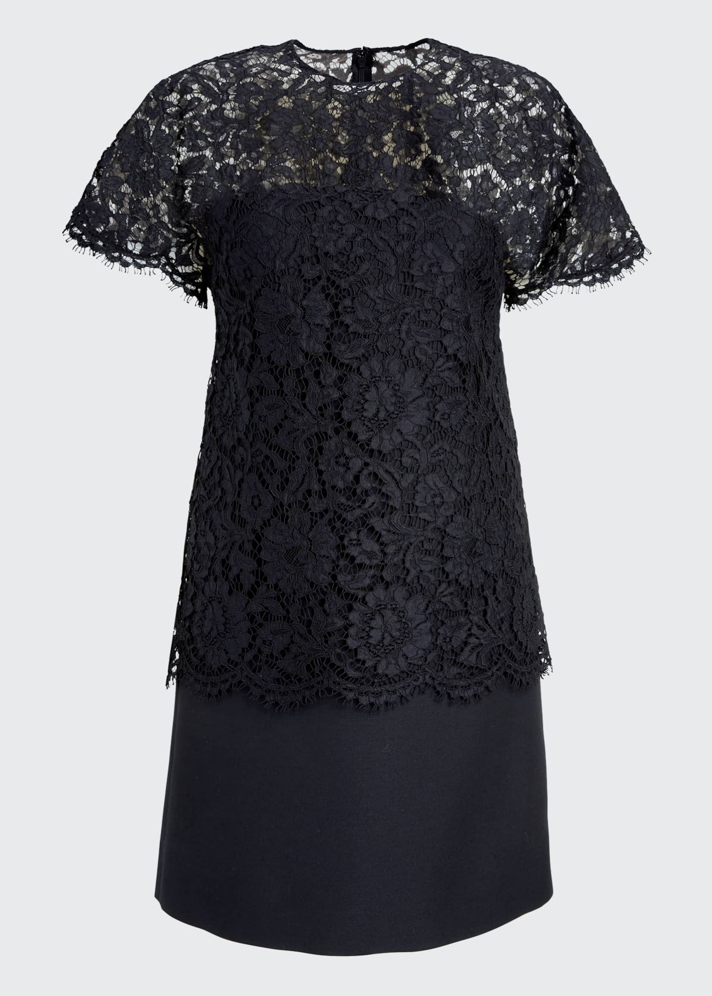 Image 5 of 5: Heavy Lace Short-Sleeve Dress