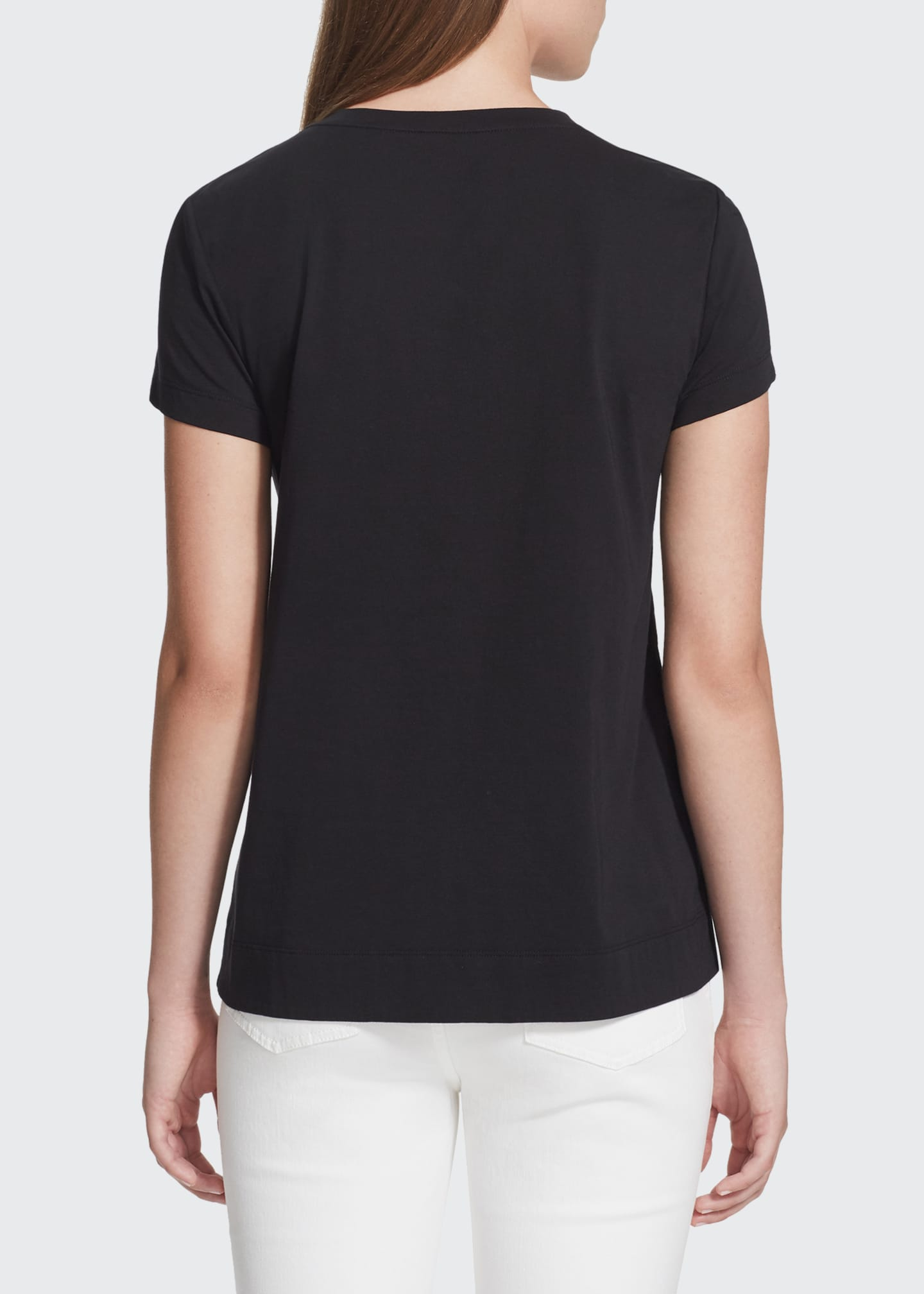 Image 2 of 2: Modern V-Neck Short-Sleeve Cotton Jersey Tee