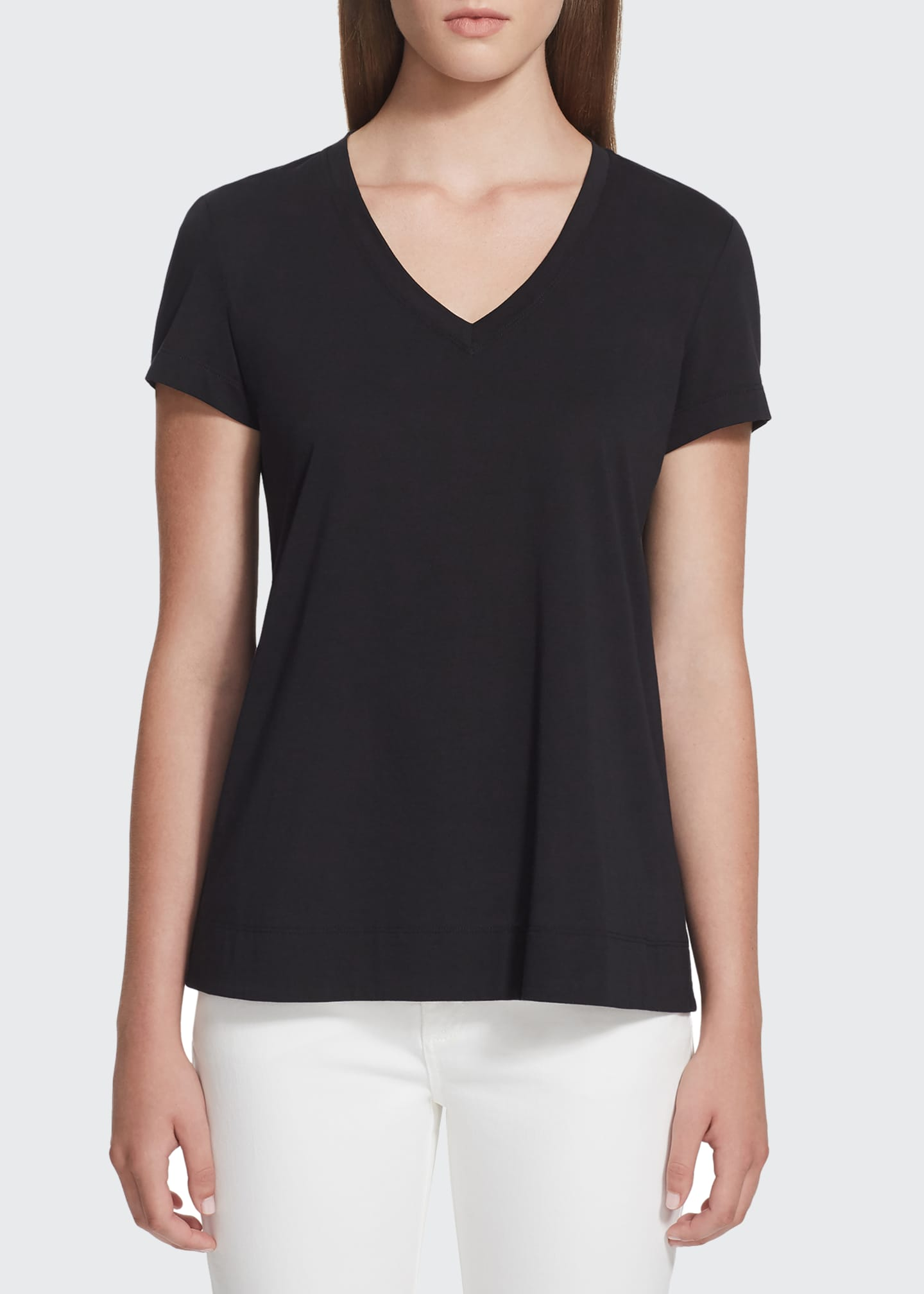 Image 1 of 2: Modern V-Neck Short-Sleeve Cotton Jersey Tee