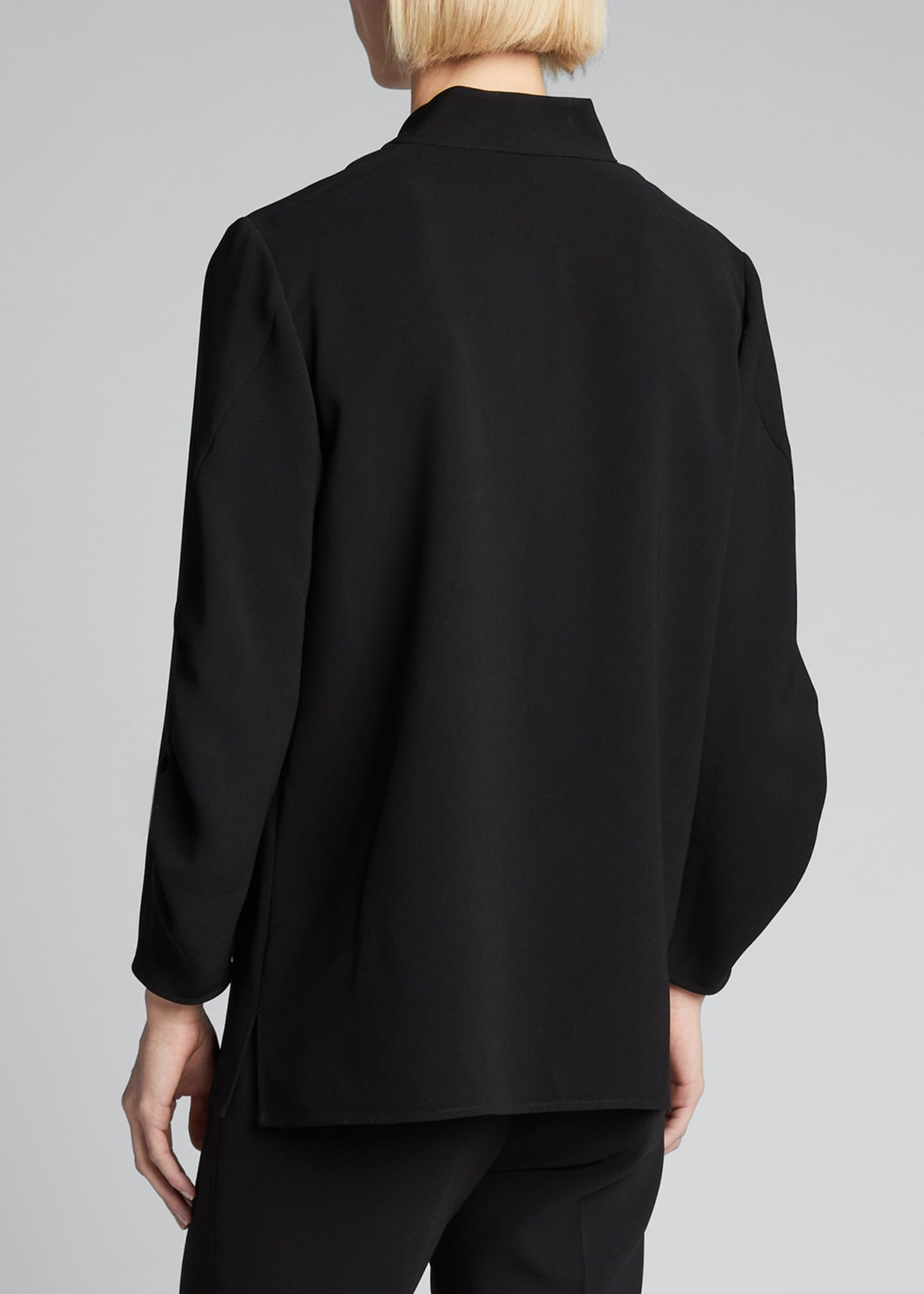 Image 2 of 5: Loretta V-Neck 3/4-Sleeve Finesse Crepe Blouse