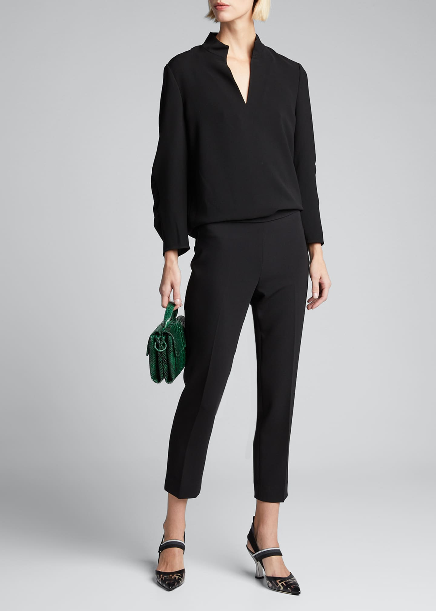 Loretta V-Neck 3/4-Sleeve Finesse Crepe Blouse