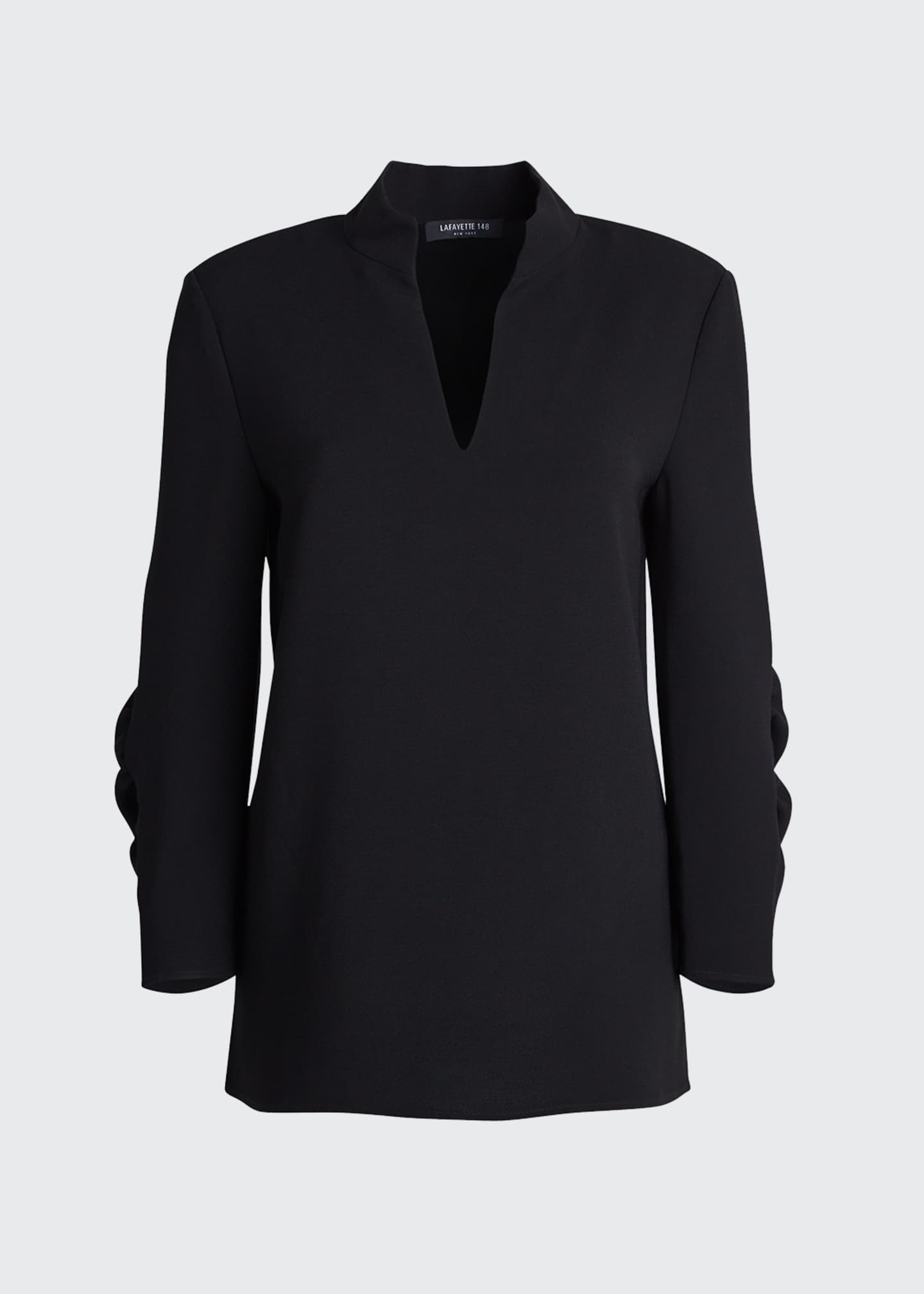 Image 5 of 5: Loretta V-Neck 3/4-Sleeve Finesse Crepe Blouse