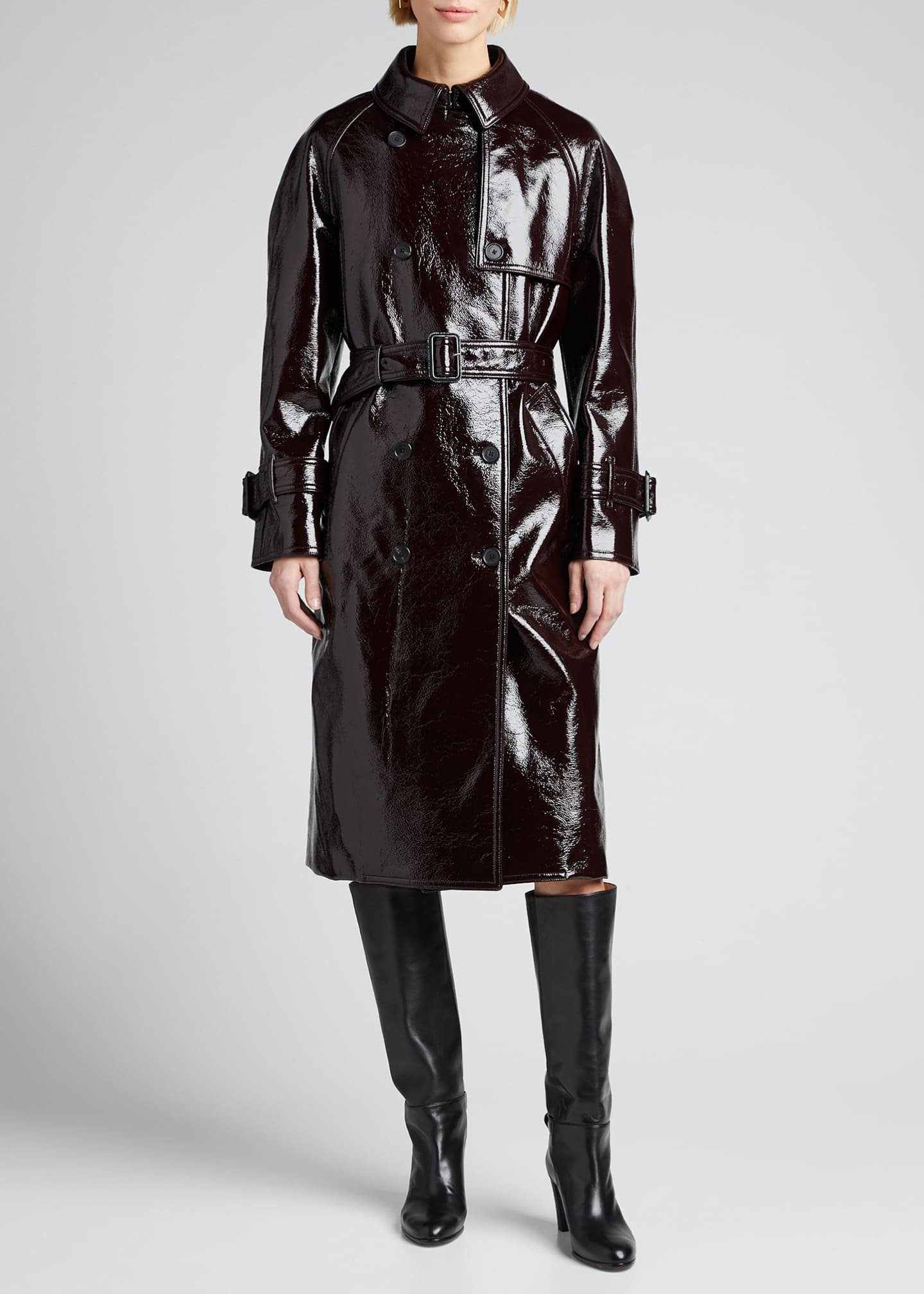 Image 3 of 5: Coated Felt Trench Coat