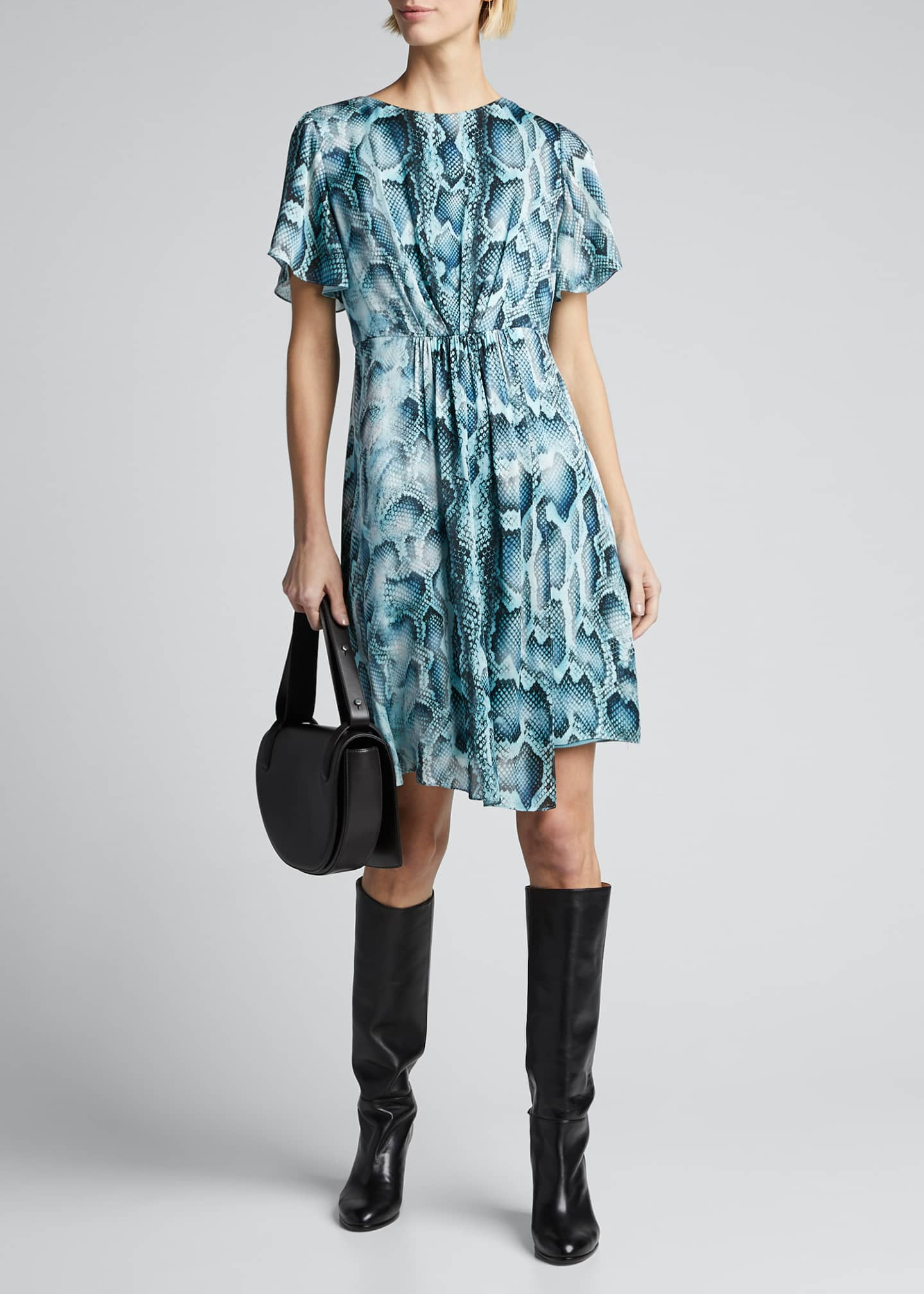 Elie Tahari Dia Snake-Print Flutter-Sleeve Silk Dress