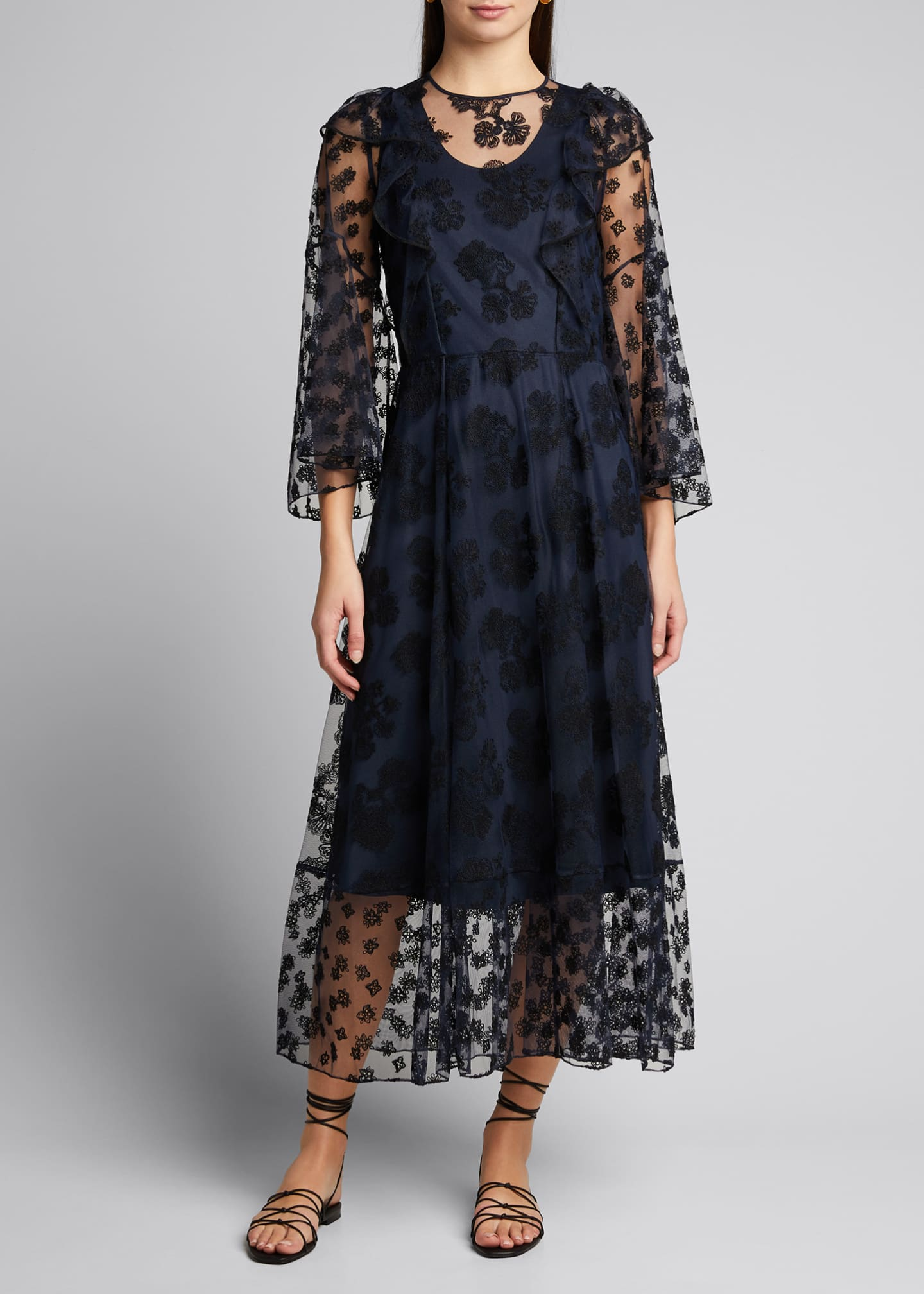 Chloe Embroidered Tulle Asymmetric Dress