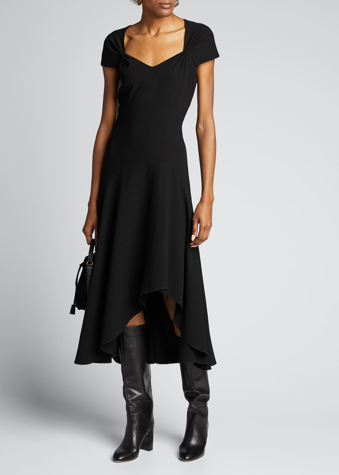 Elie Tahari Phoenix Short-Sleeve Asymmetrical Midi Dress