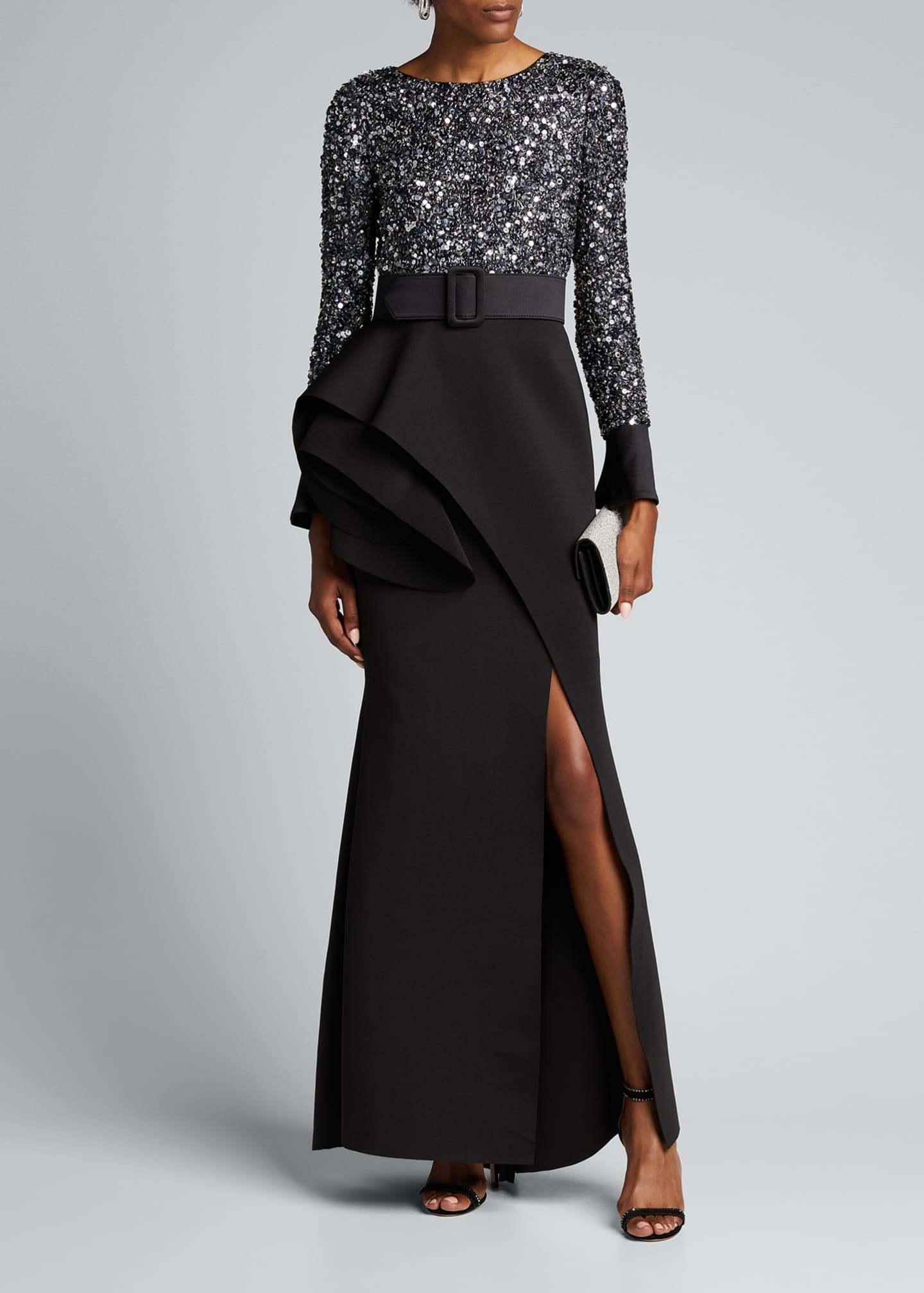 Badgley Mischka Couture Long-Sleeve Sequined Gown