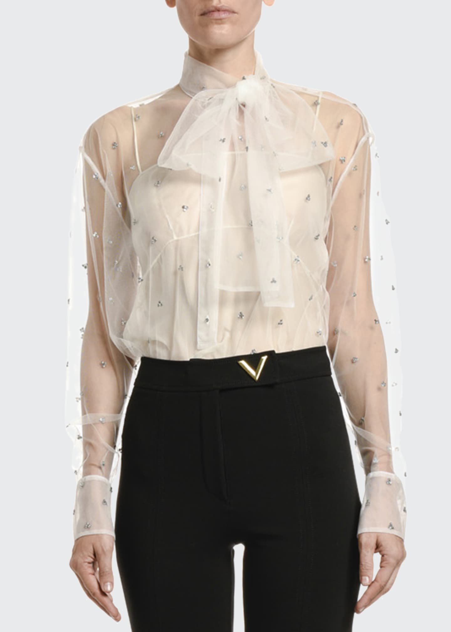 Image 1 of 2: Jeweled Tulle Bow-Neck Blouse
