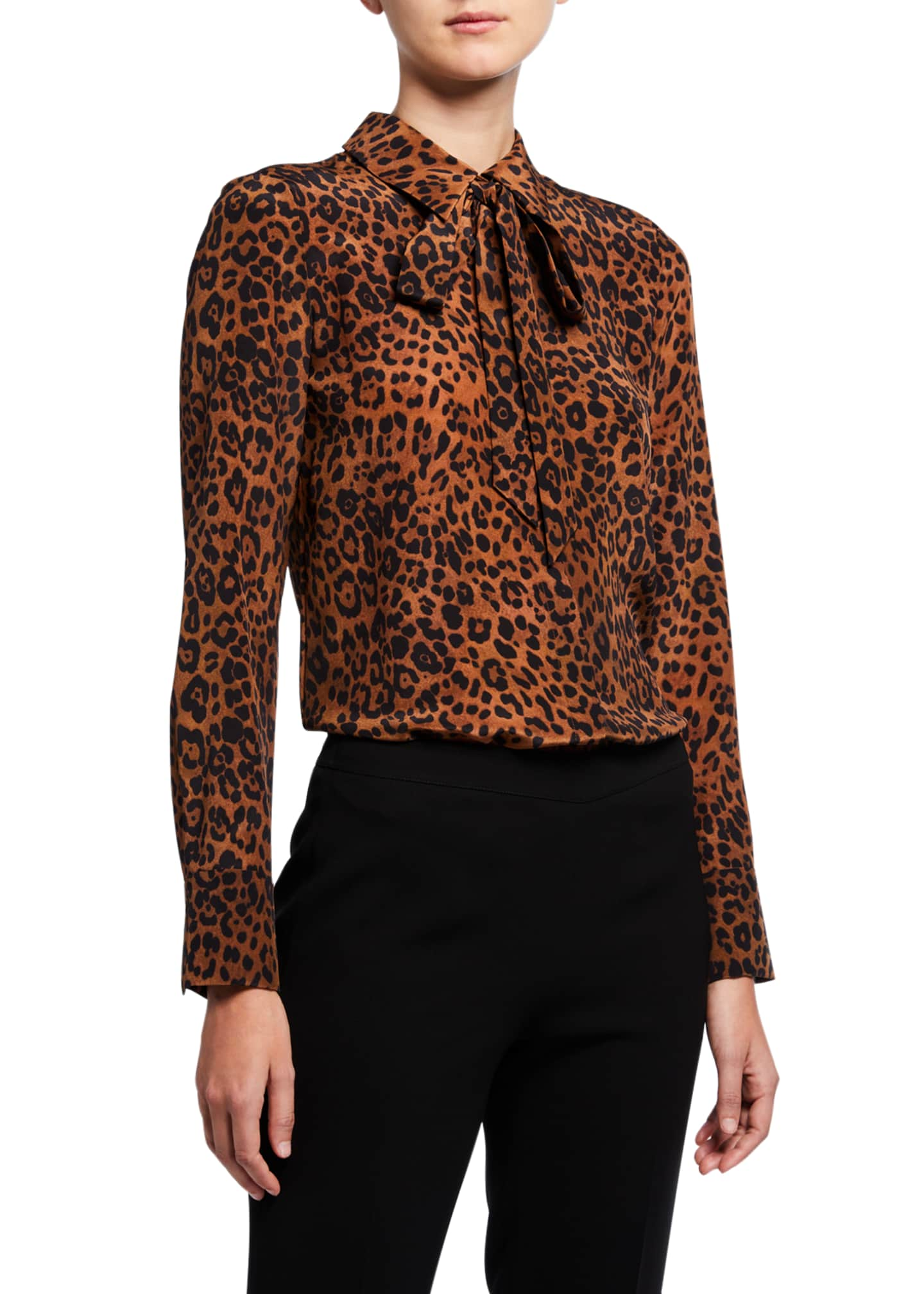 Lafayette 148 New York Diana Leopard Printed Silk