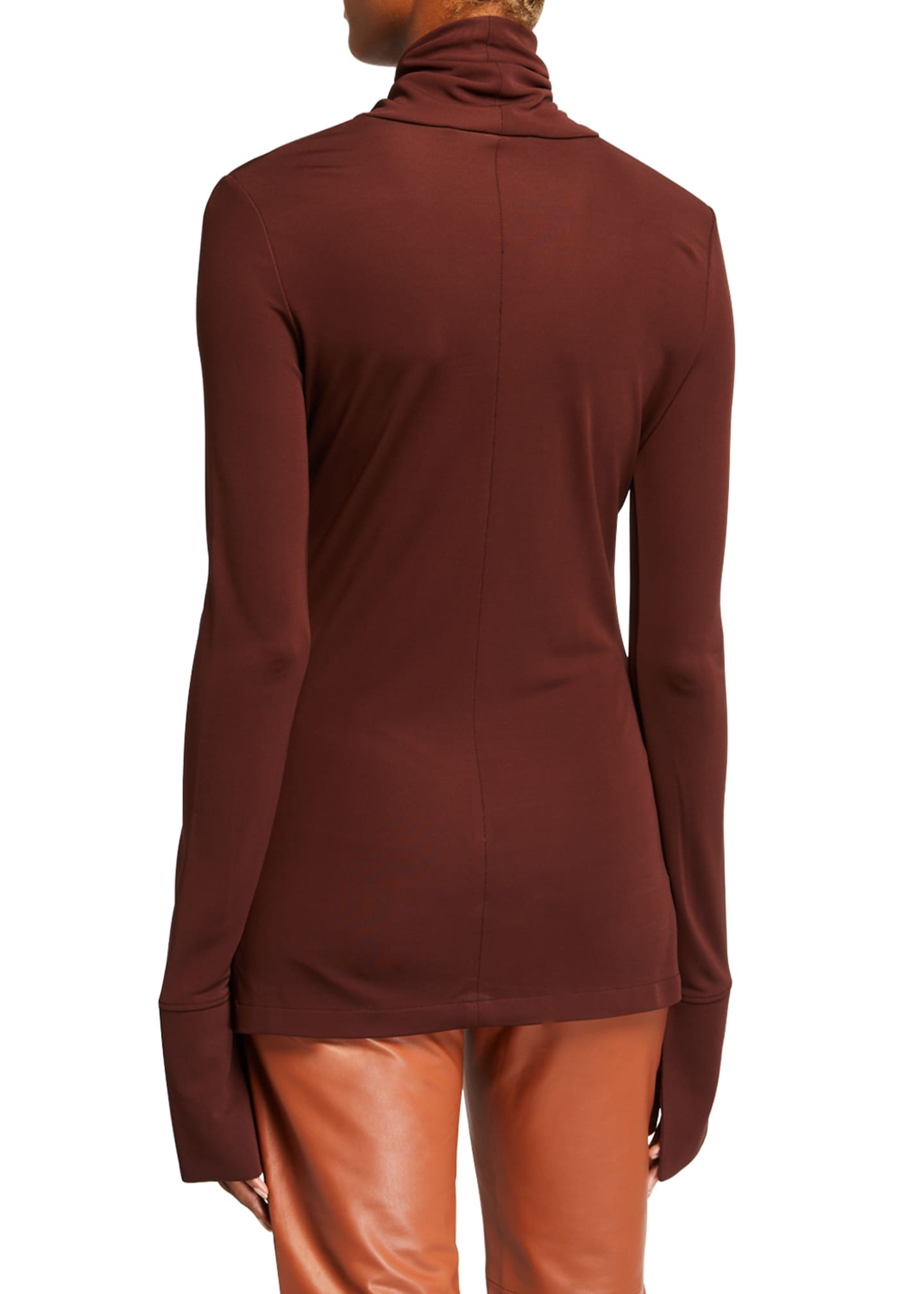 Image 2 of 2: High-Neck Long-Sleeve Crepe Jersey Top