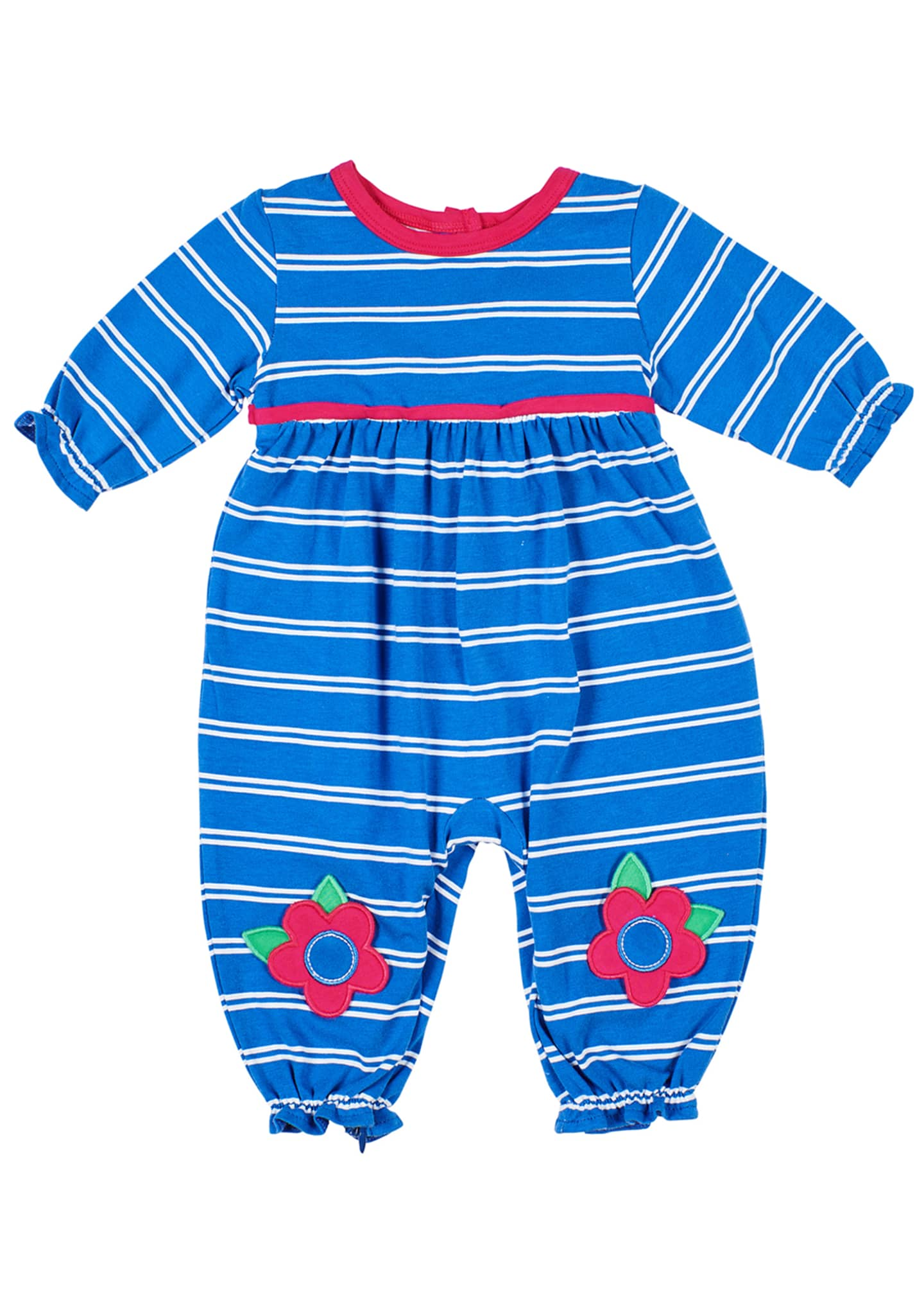 Florence Eiseman Girl's Striped Coverall w/ Flower Knee