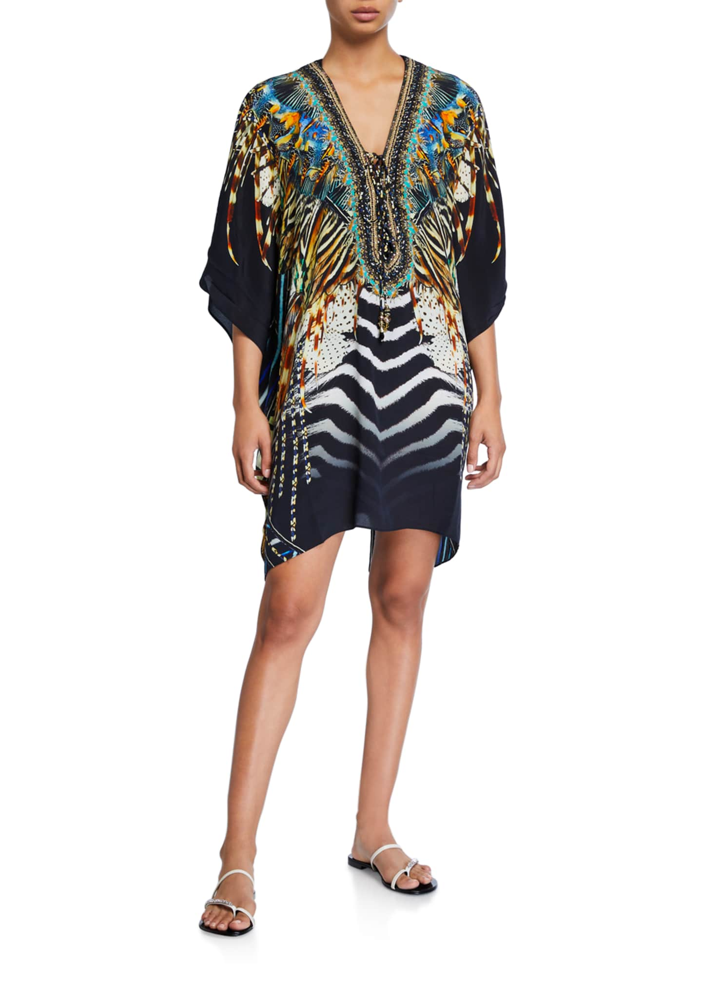Camilla Printed Lace-Up Short Caftan