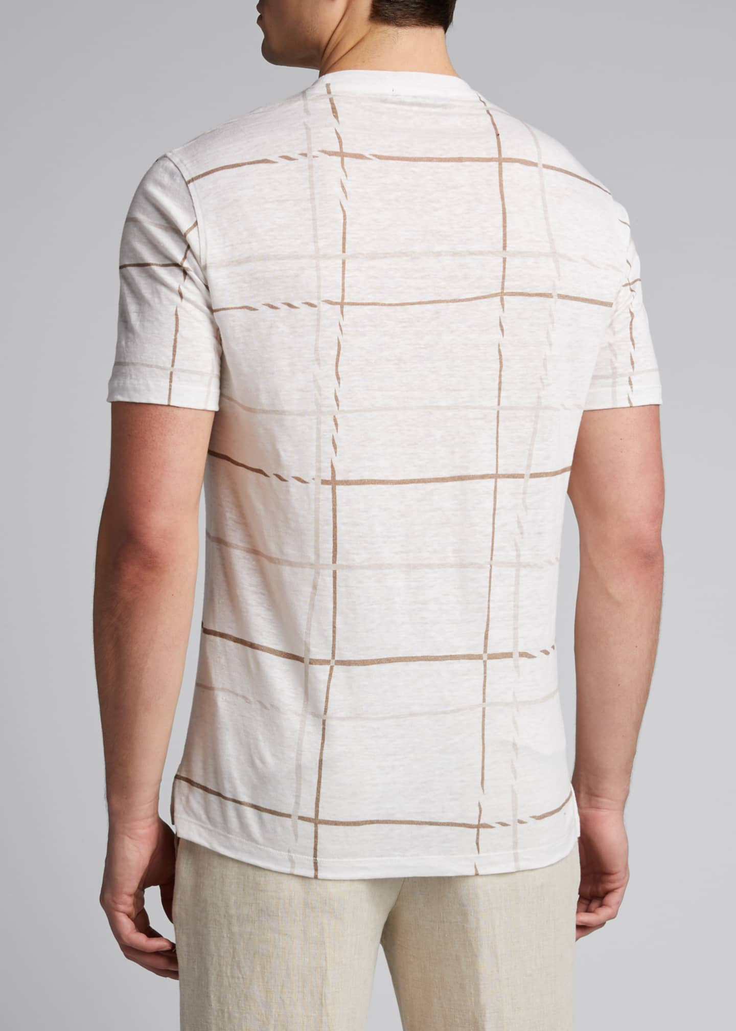 Image 2 of 5: Men's Patterned Regular-Fit Linen T-Shirt