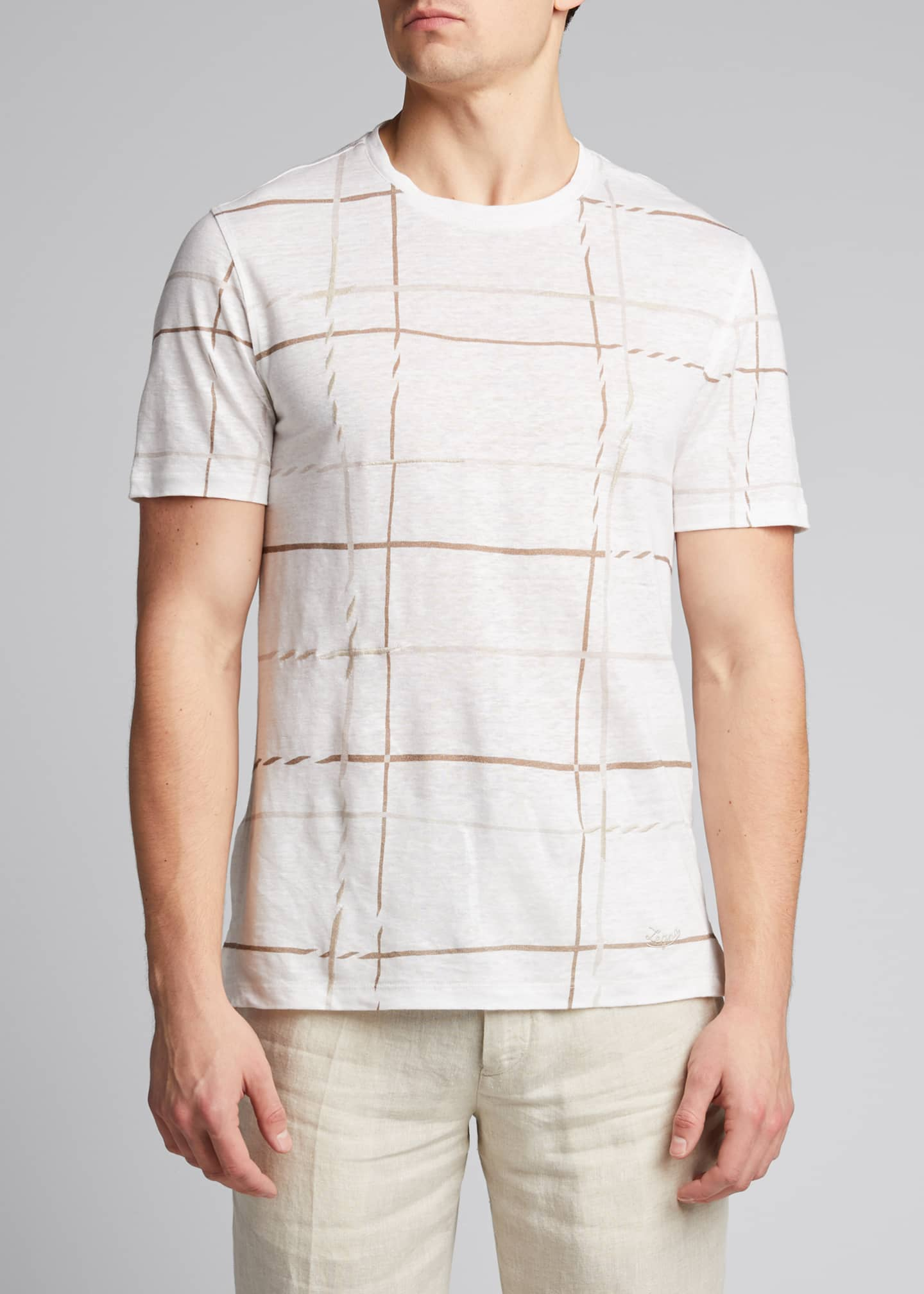 Image 3 of 5: Men's Patterned Regular-Fit Linen T-Shirt