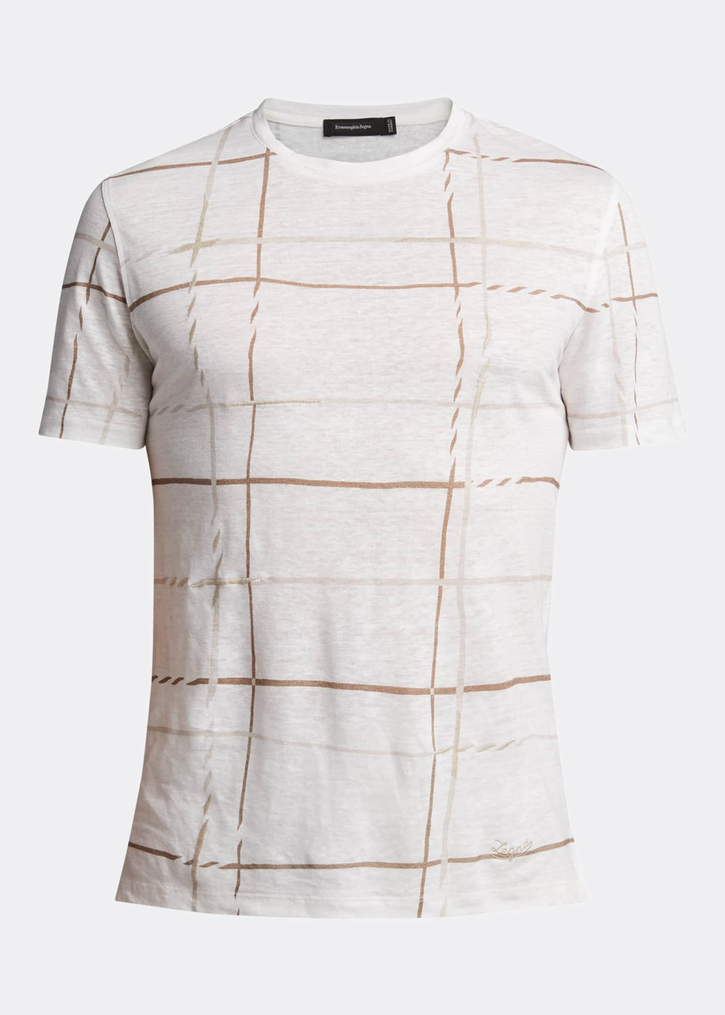 Image 5 of 5: Men's Patterned Regular-Fit Linen T-Shirt