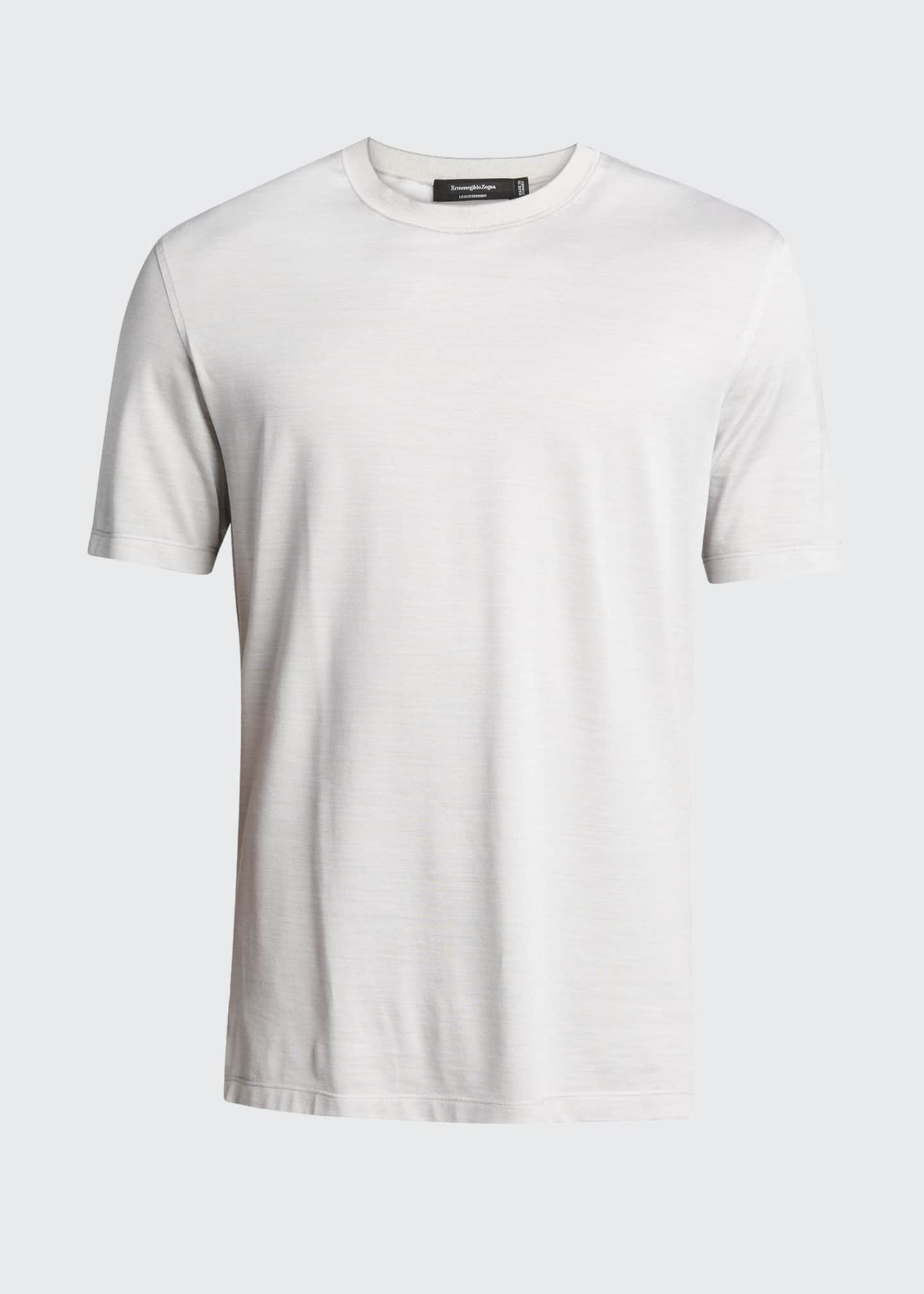 Image 5 of 5: Men's Regular-Fit Lightweight Silk-Cotton T-Shirt