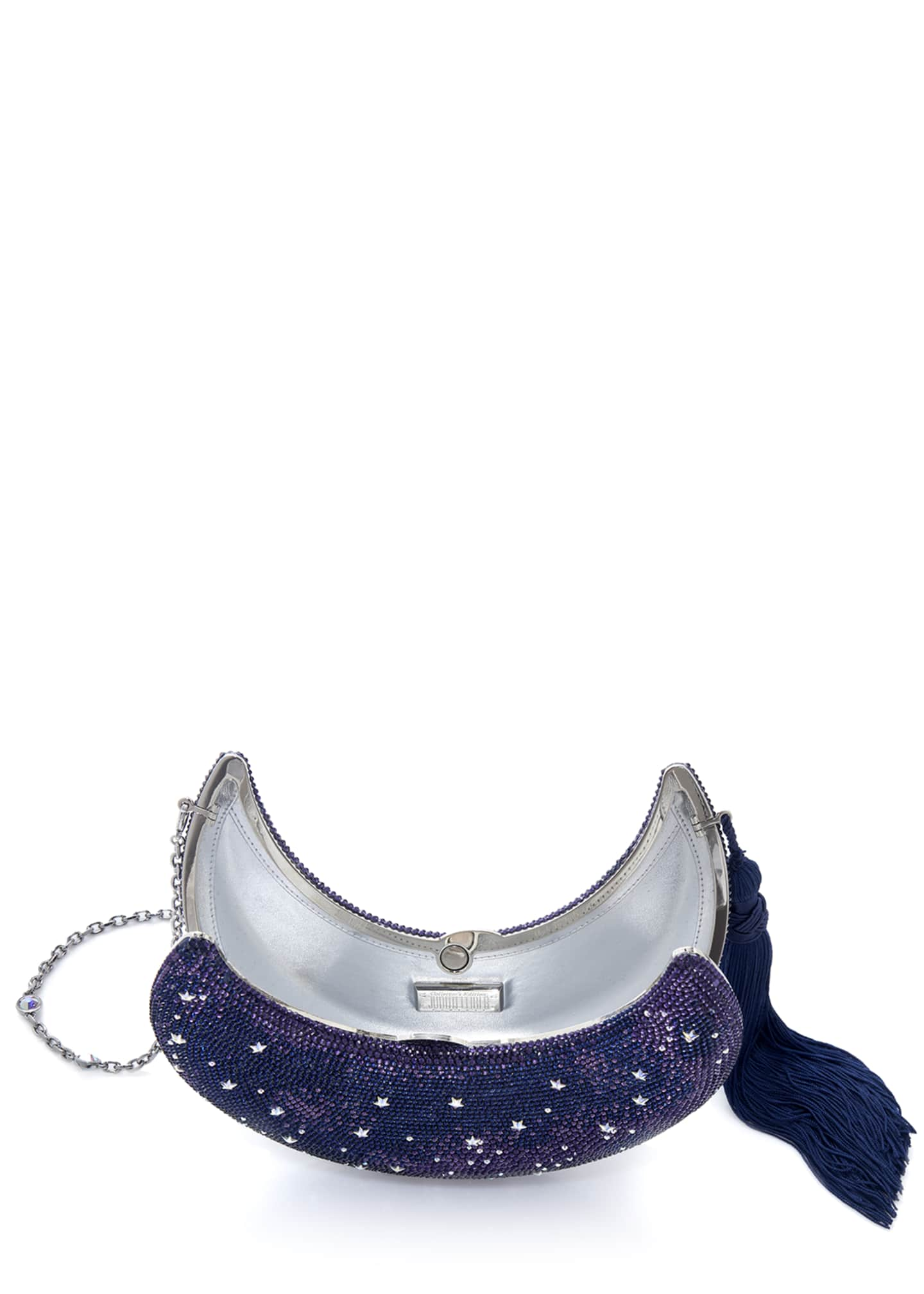 Image 2 of 3: Crescent Moon Galaxy Crystal Clutch Bag