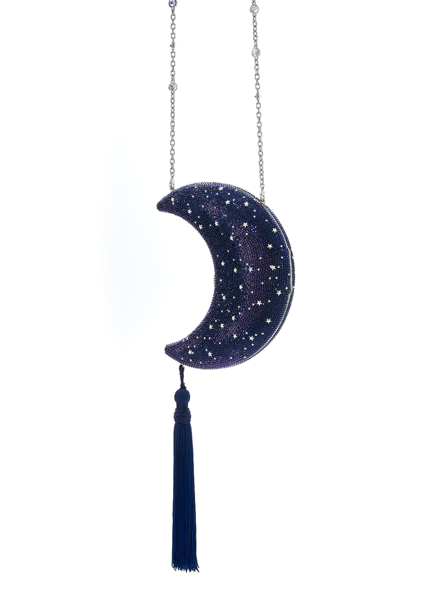 Image 3 of 3: Crescent Moon Galaxy Crystal Clutch Bag