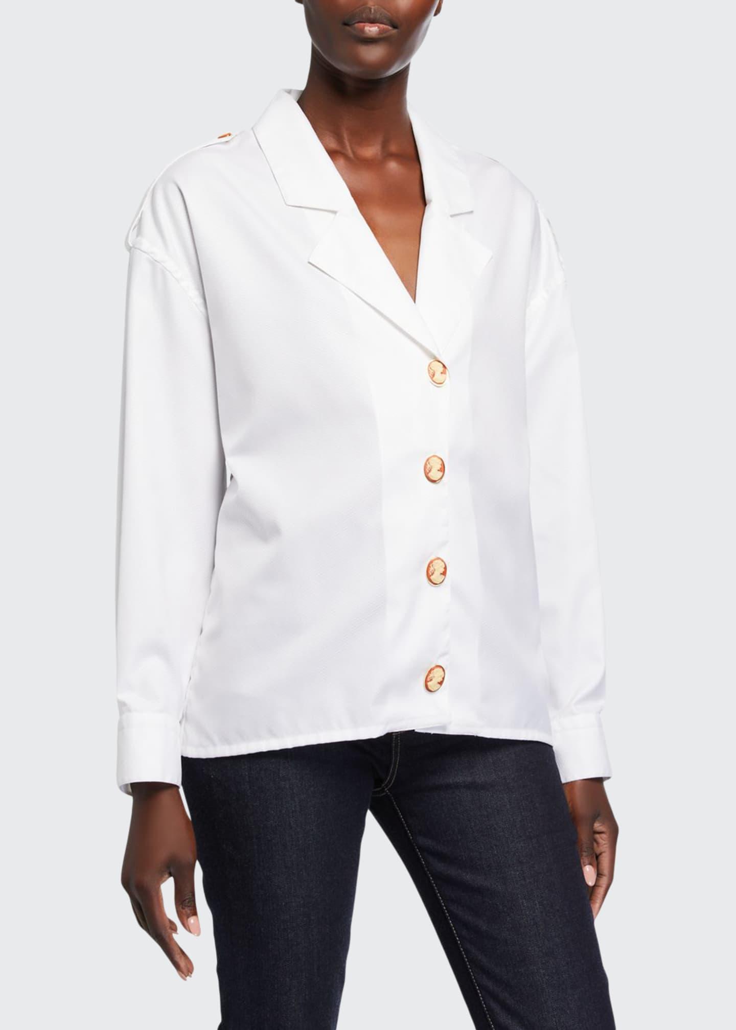 Giuliva Heritage Collection Blazer-Lapel Cameo-Button Poplin Shirt