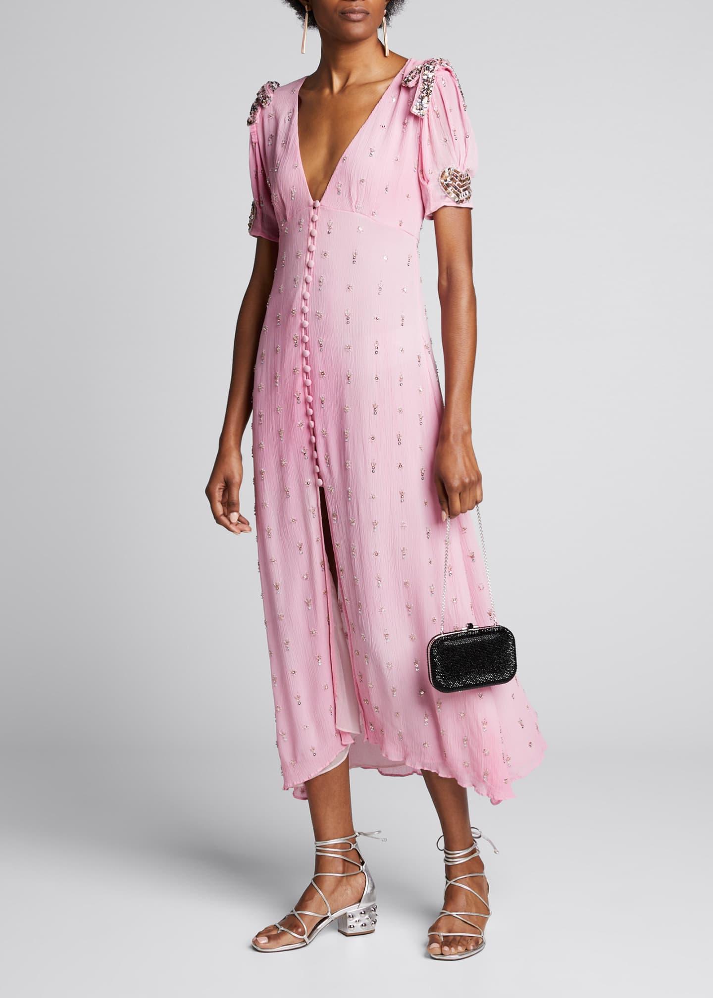 LoveShackFancy Delaney Embellished Button-Front Long Dress