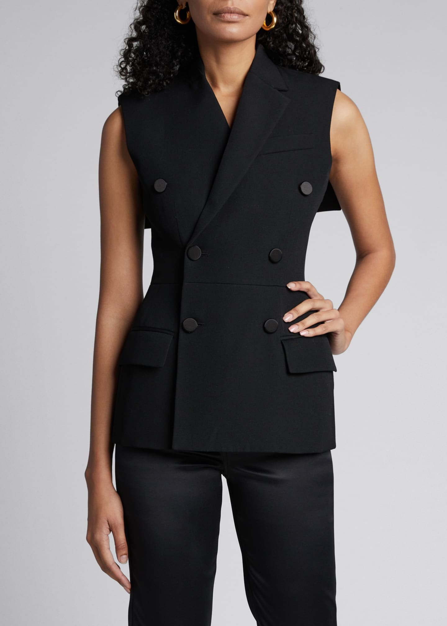 Givenchy Wool Double-Breasted Fitted Vest with Cape