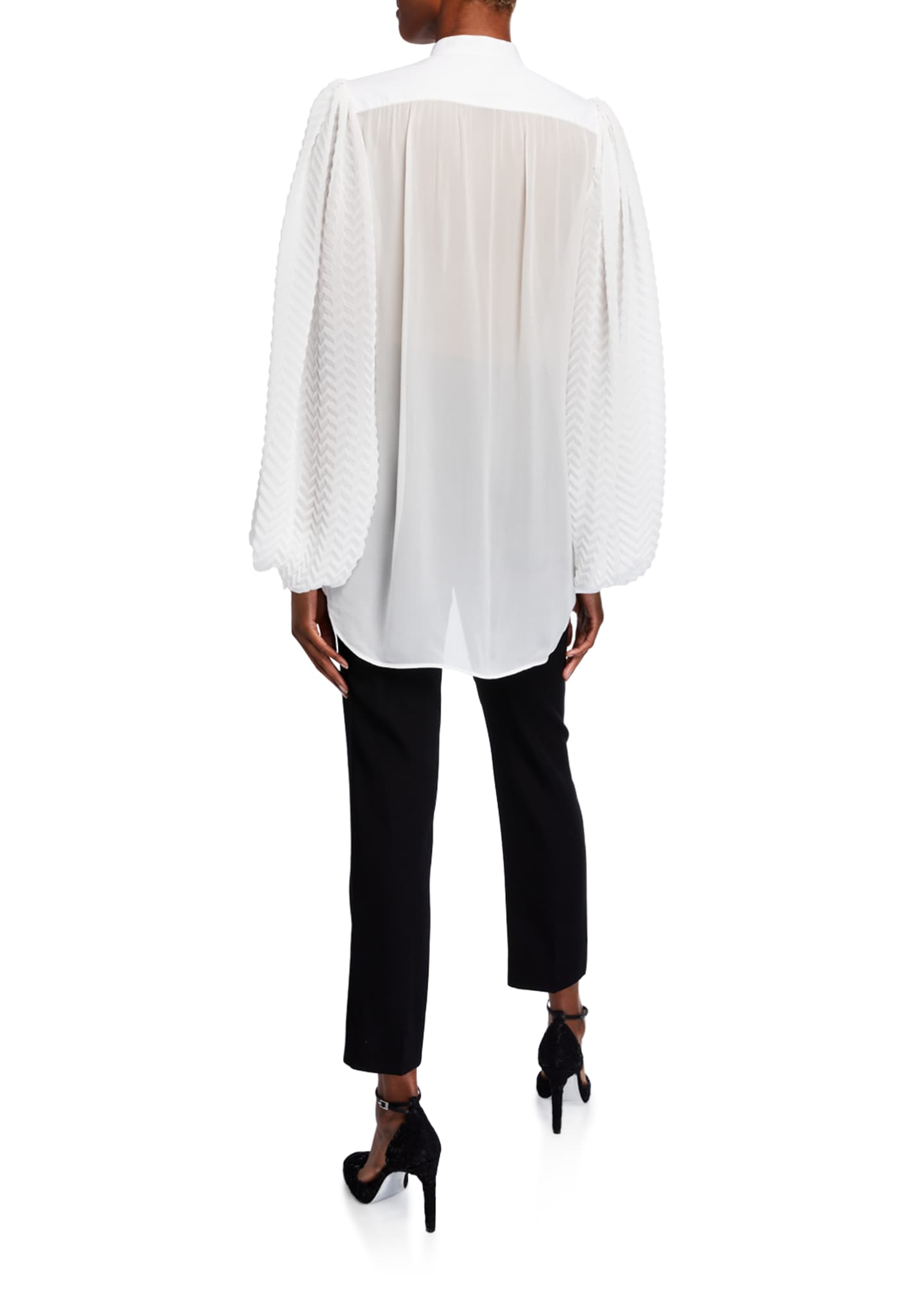 Image 2 of 2: Georgette Chevron-Sleeve Blouse w/ Puffy Sleeves