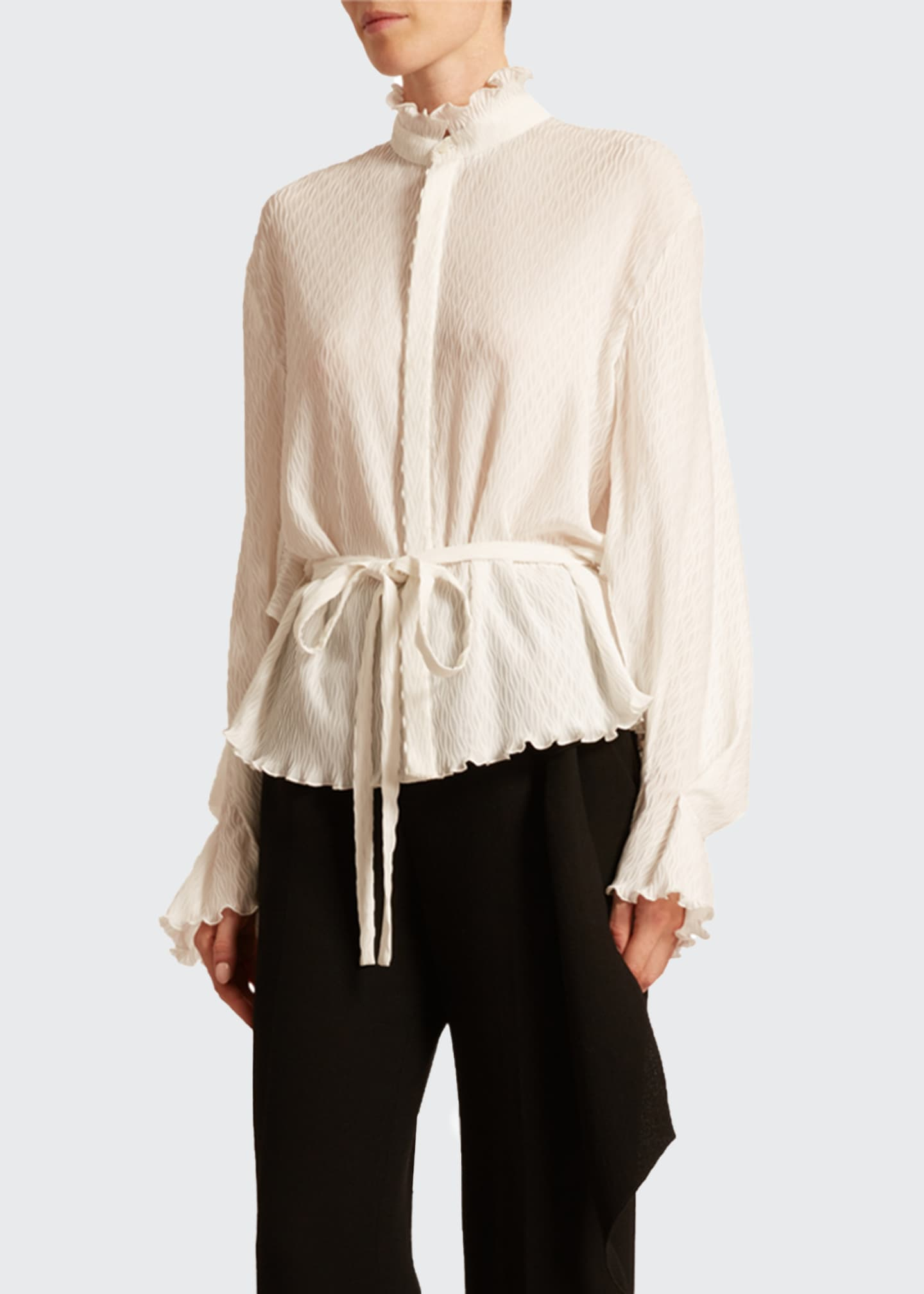 Image 1 of 2: Sparrow Rippled Plisse Top