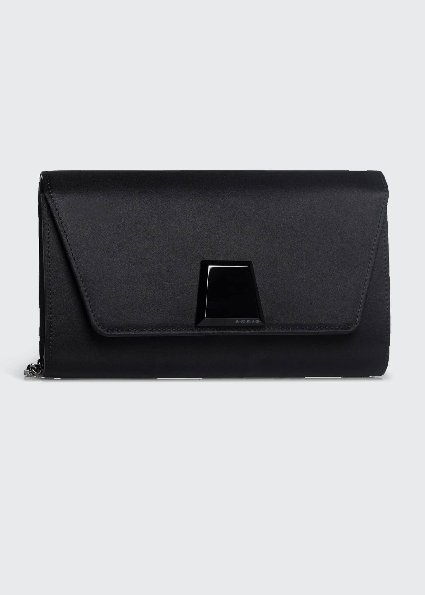 Akris Anouk Mini Satin Clutch Bag with Onyx