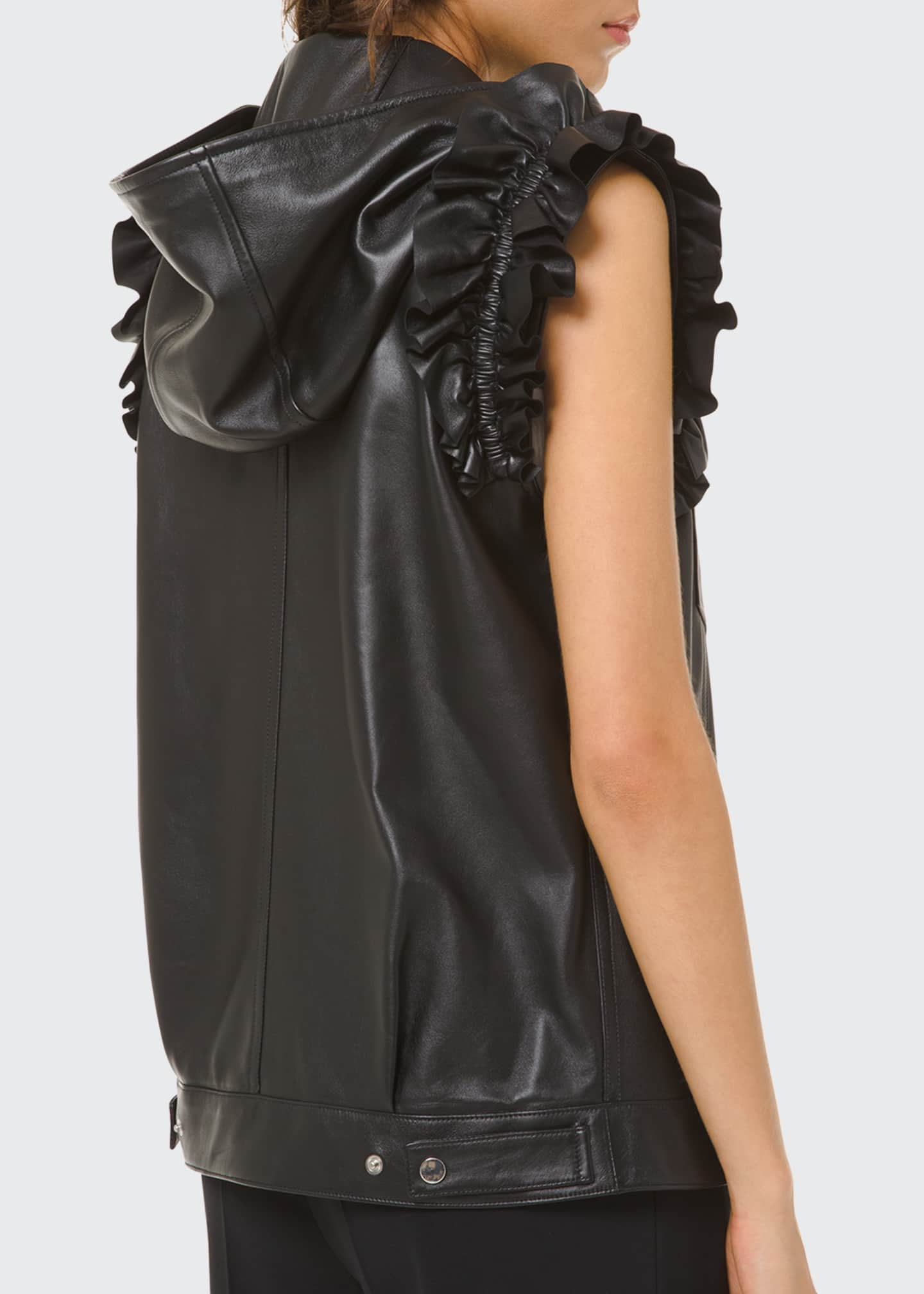 Image 2 of 2: Ruffled Leather Moto Vest