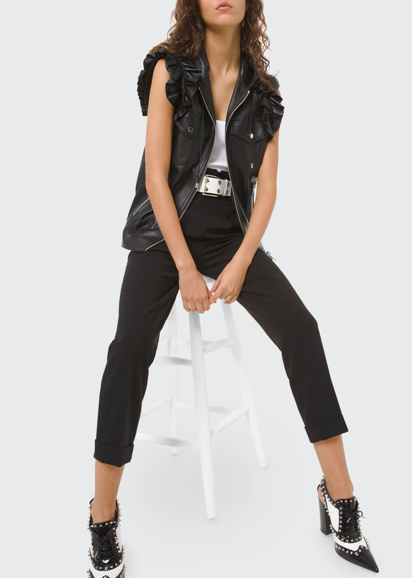 Image 1 of 2: Ruffled Leather Moto Vest
