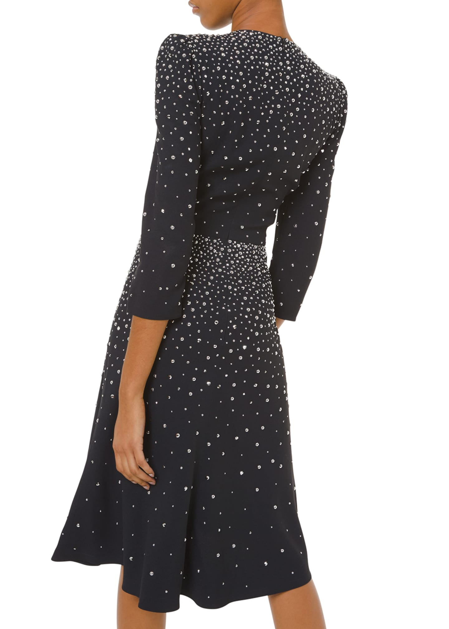 Image 2 of 2: Embellished V-Neck Flare Dress