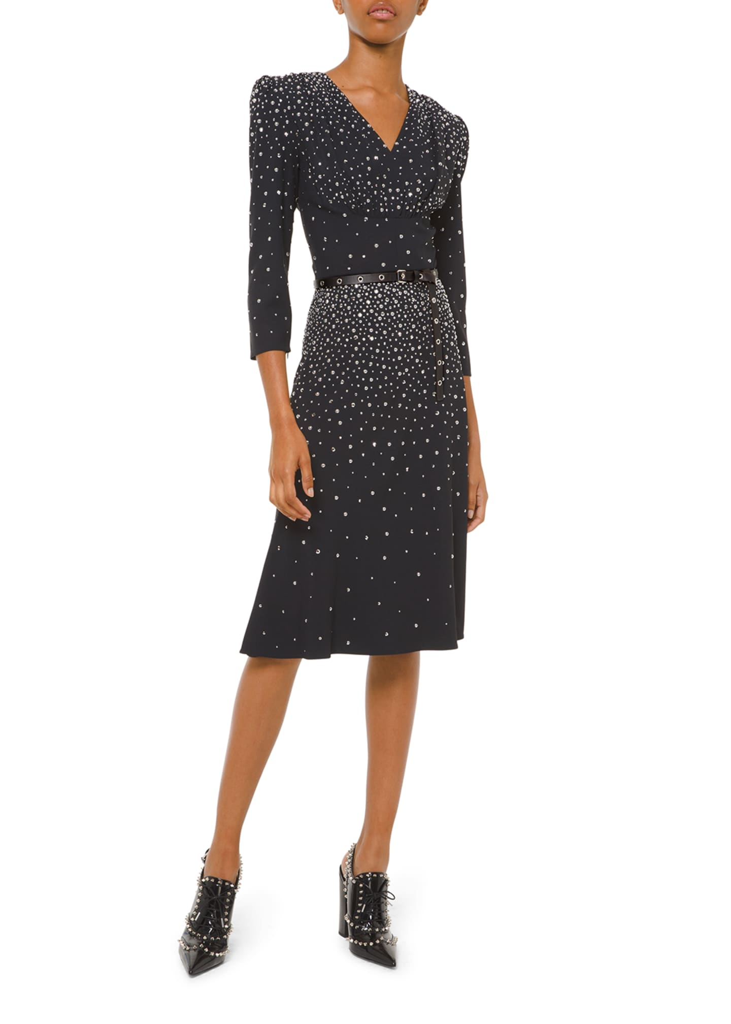 Image 1 of 2: Embellished V-Neck Flare Dress