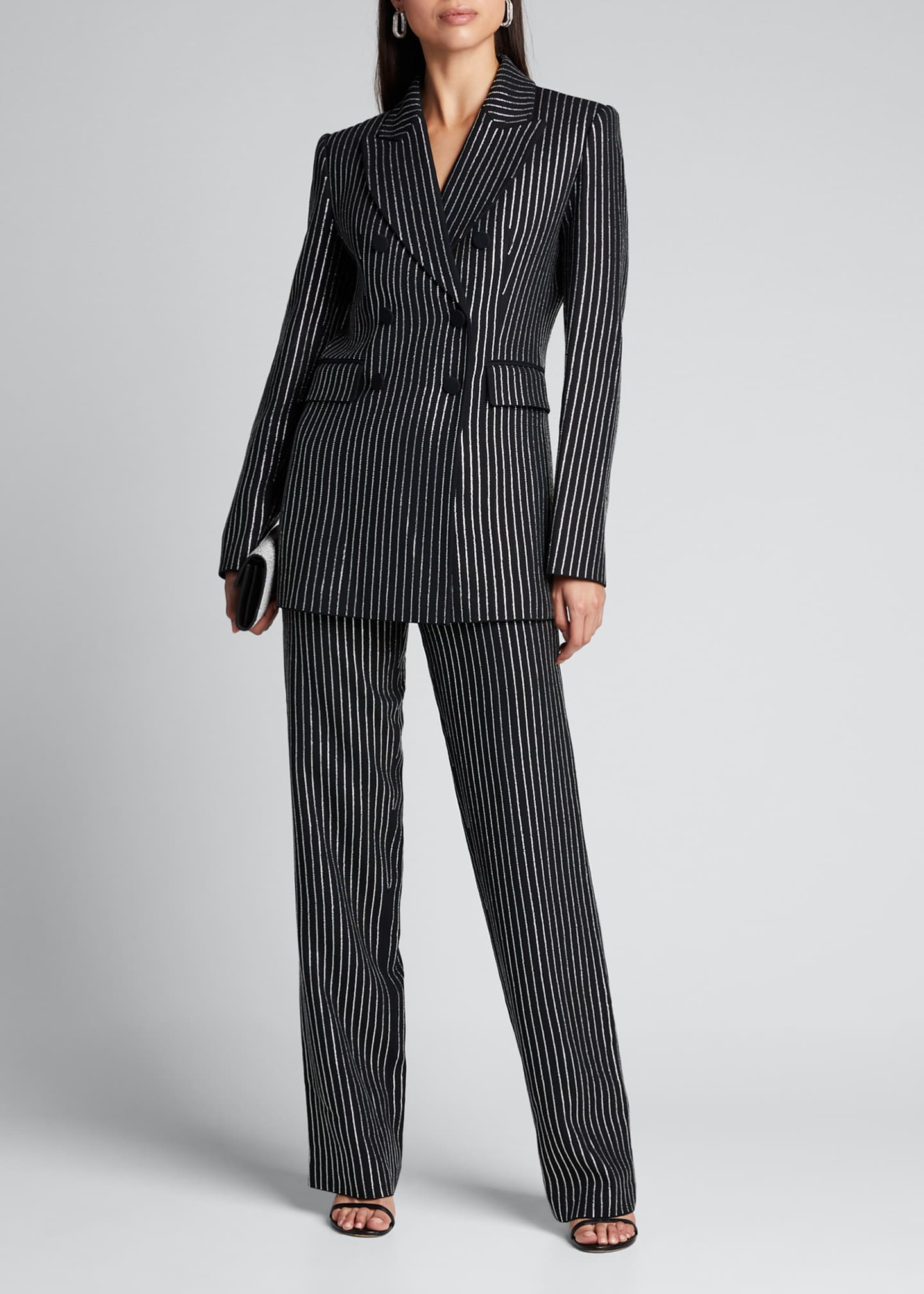 Michael Kors Collection Crystal Pinstriped Double-Breasted Dinner