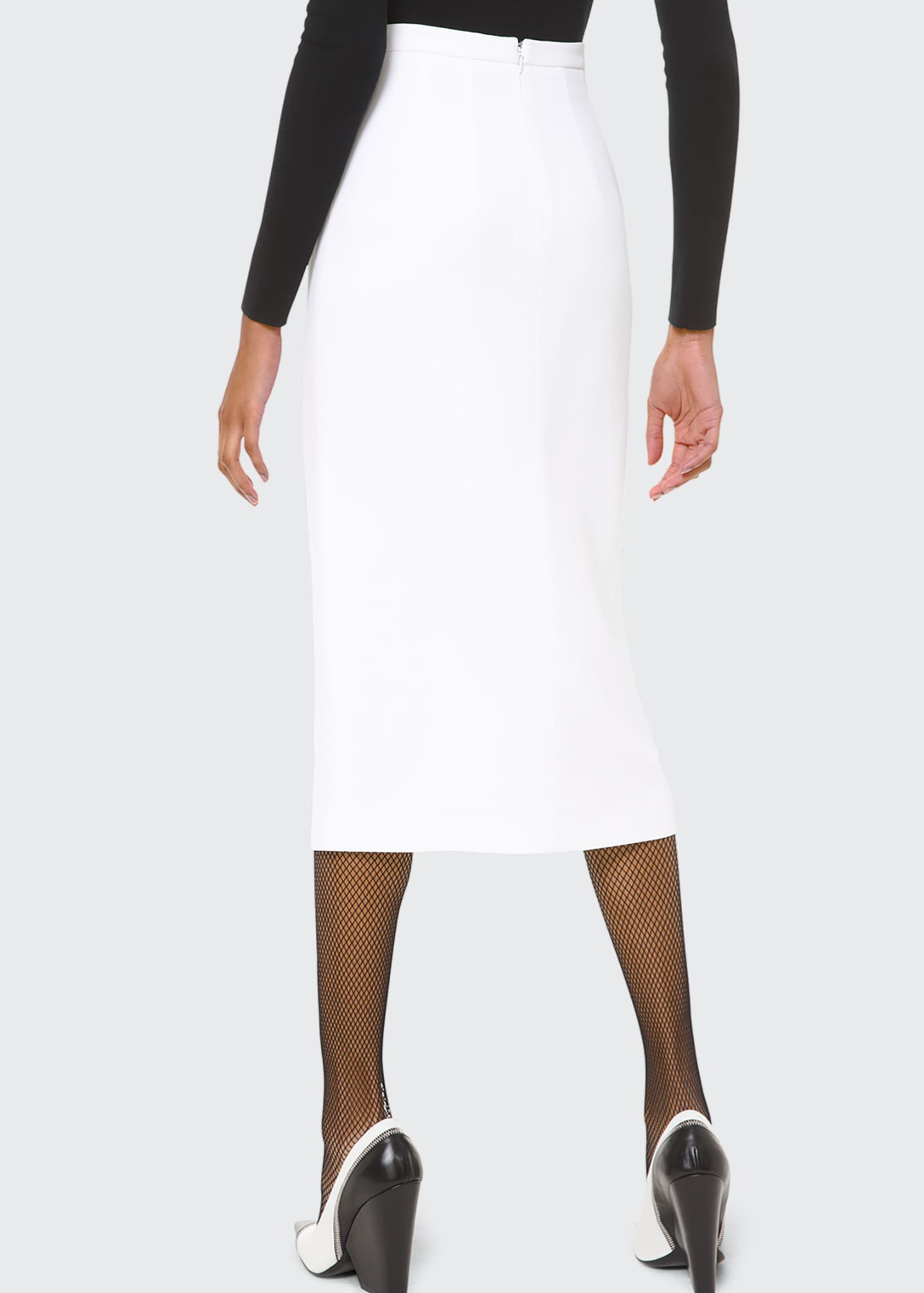 Image 2 of 2: Crepe Slit-Hem Pencil Skirt
