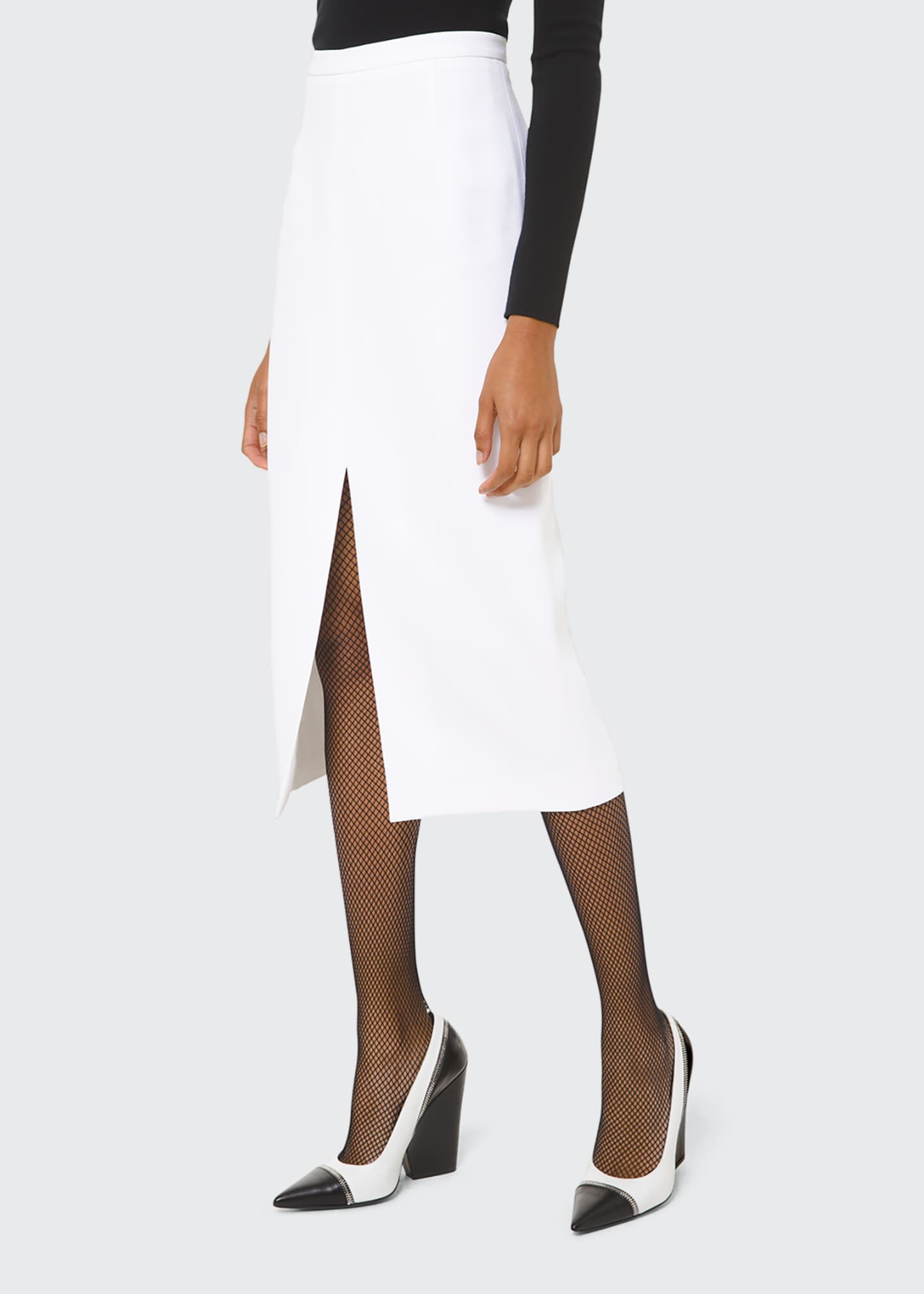 Image 1 of 2: Crepe Slit-Hem Pencil Skirt