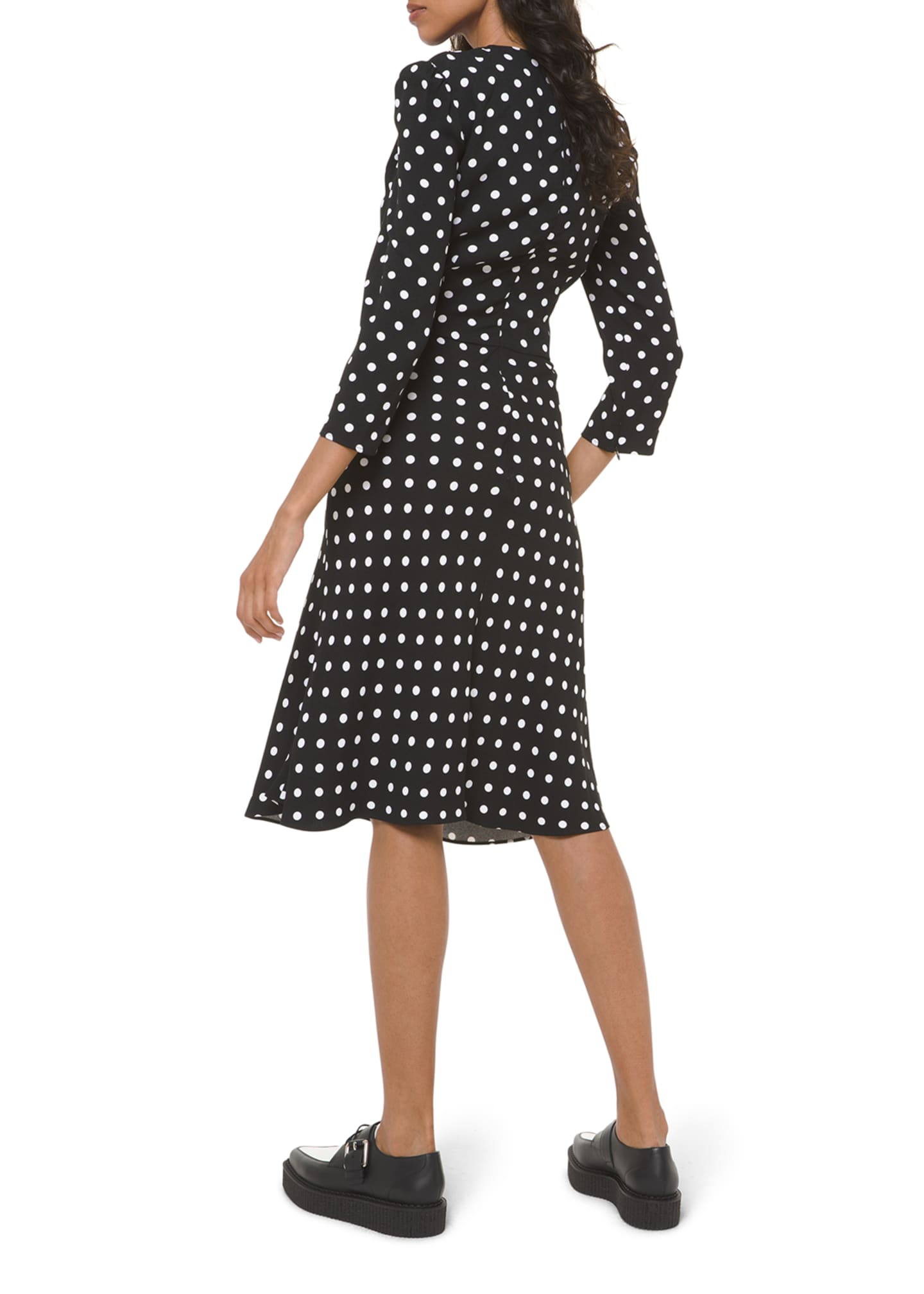Image 2 of 2: Polka-Dot Belted V-Neck Flared Dress