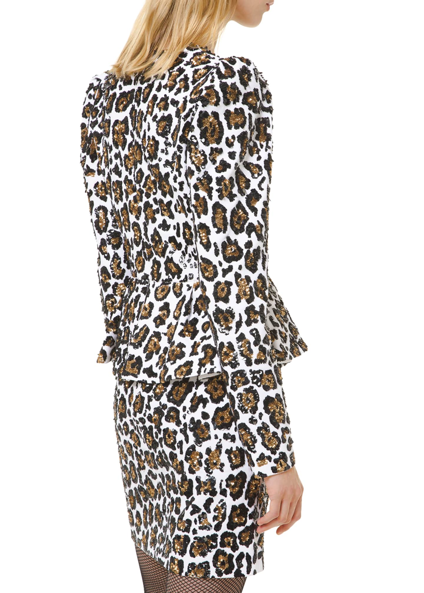 Image 2 of 3: Leopard-Print Plunging-Neck Dress