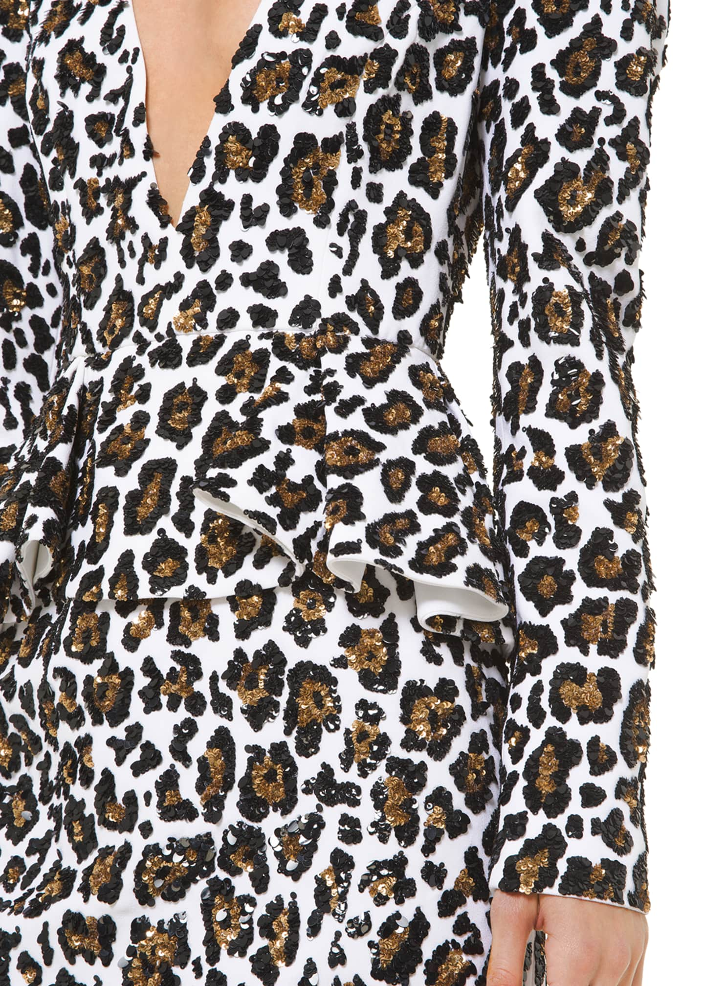 Image 3 of 3: Leopard-Print Plunging-Neck Dress