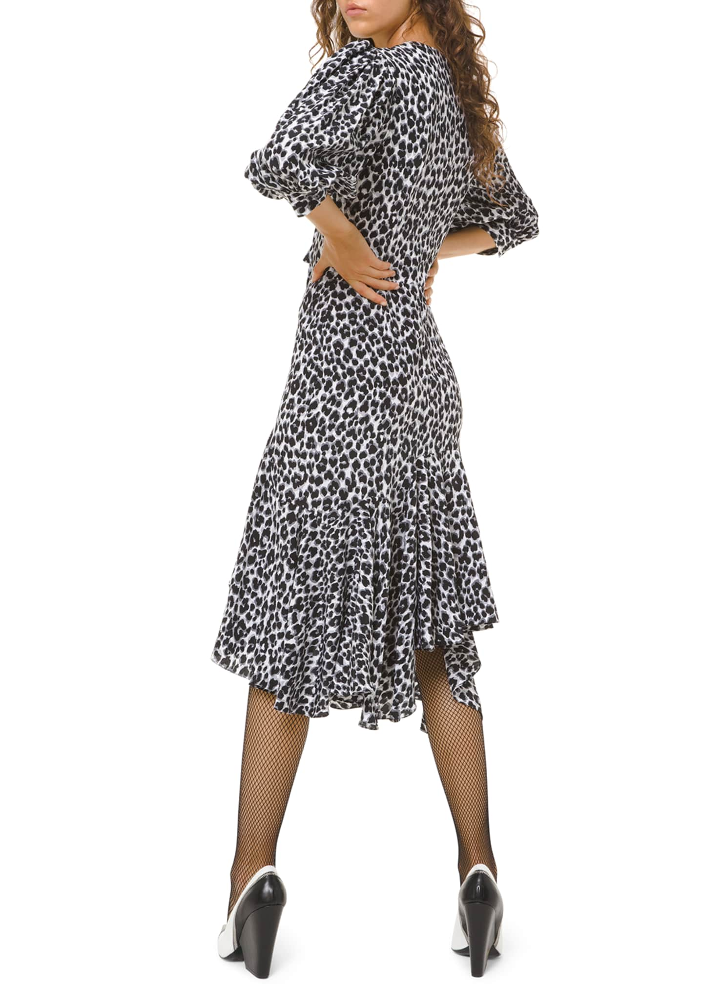 Image 2 of 2: Leopard-Print Silk Asymmetric Dress