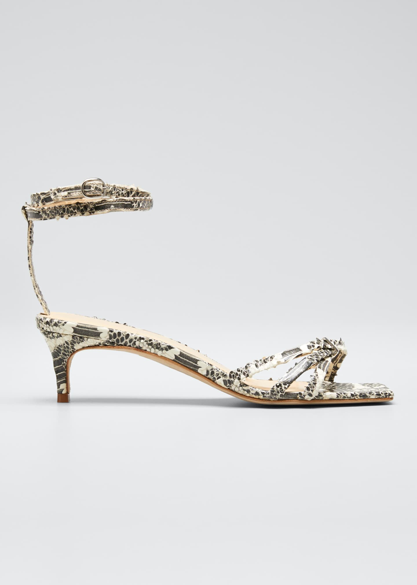 BY FAR Kaia Snake-Print Sandals