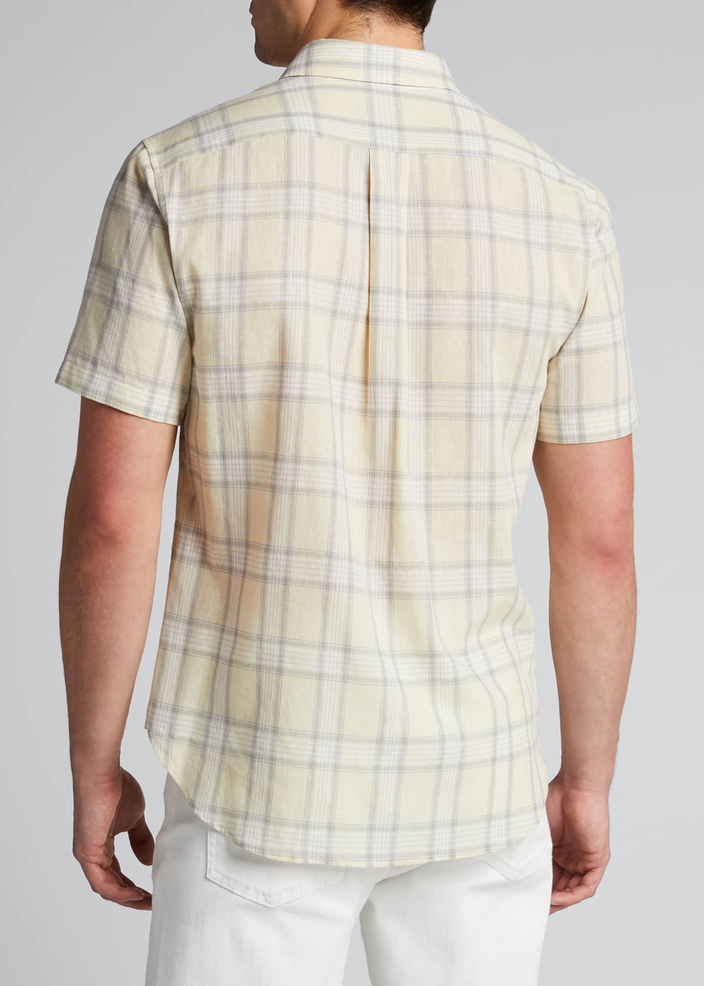 Image 2 of 5: Men's Linen Plaid Short-Sleeve Sport Shirt