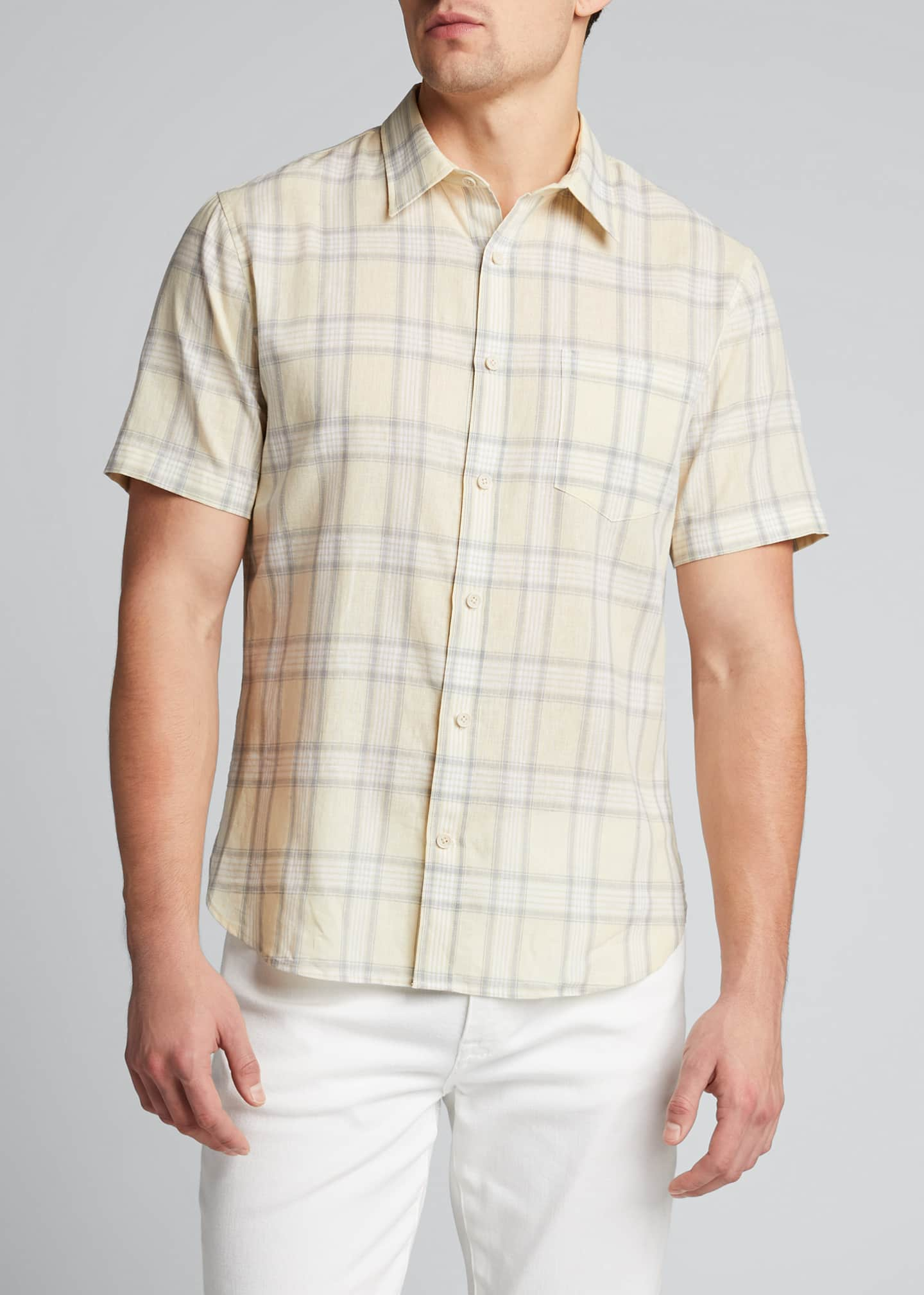 Image 3 of 5: Men's Linen Plaid Short-Sleeve Sport Shirt