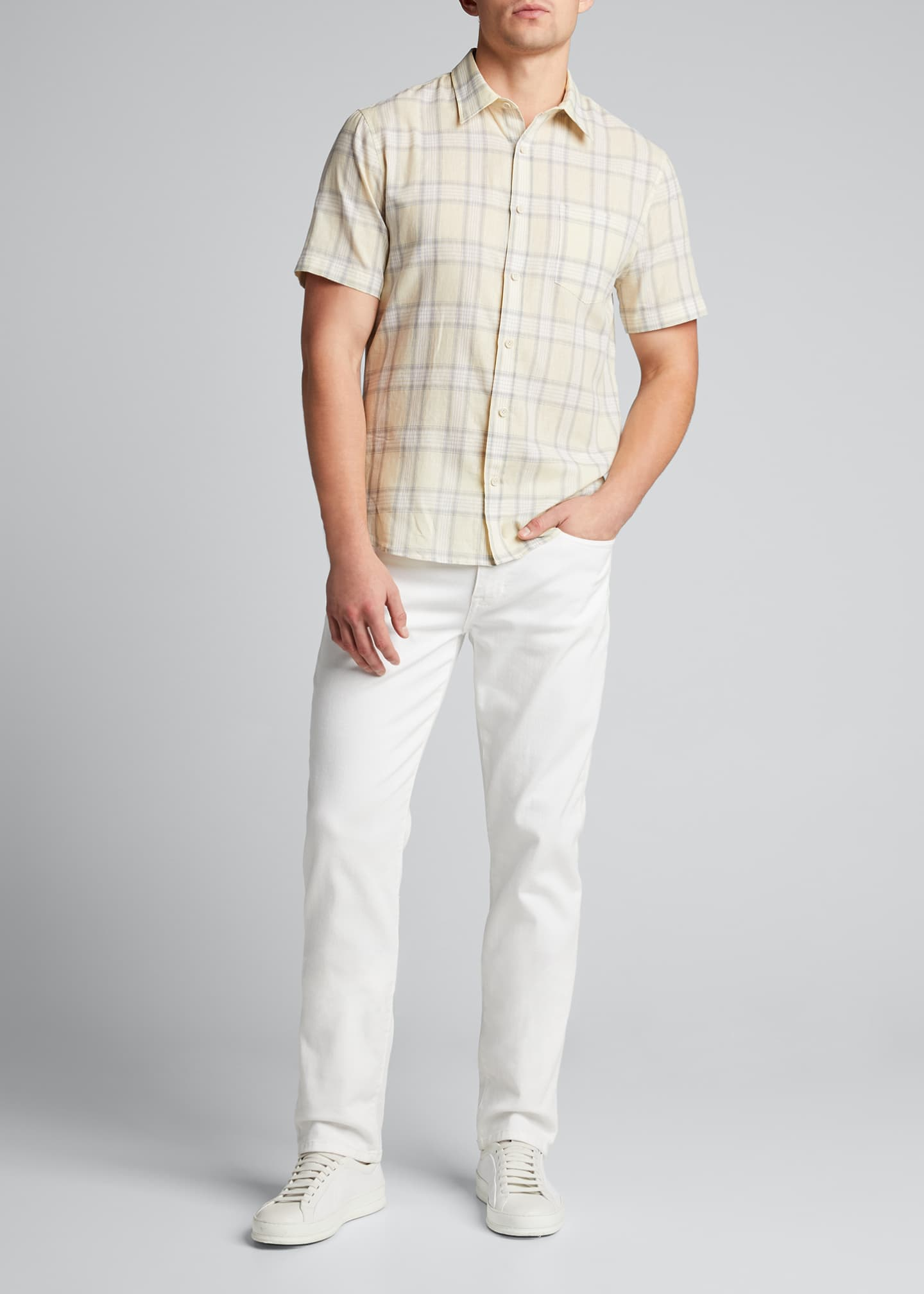 Image 1 of 5: Men's Linen Plaid Short-Sleeve Sport Shirt